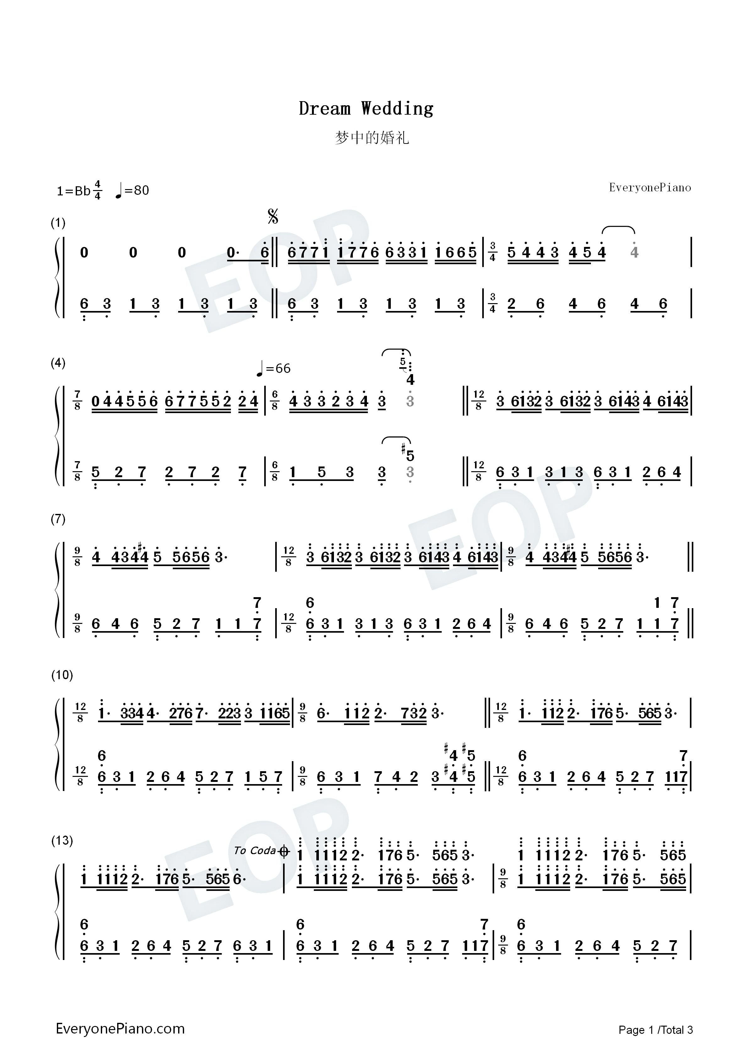 梦中的婚礼-dream wedding双手简谱预览1-钢琴谱(,)