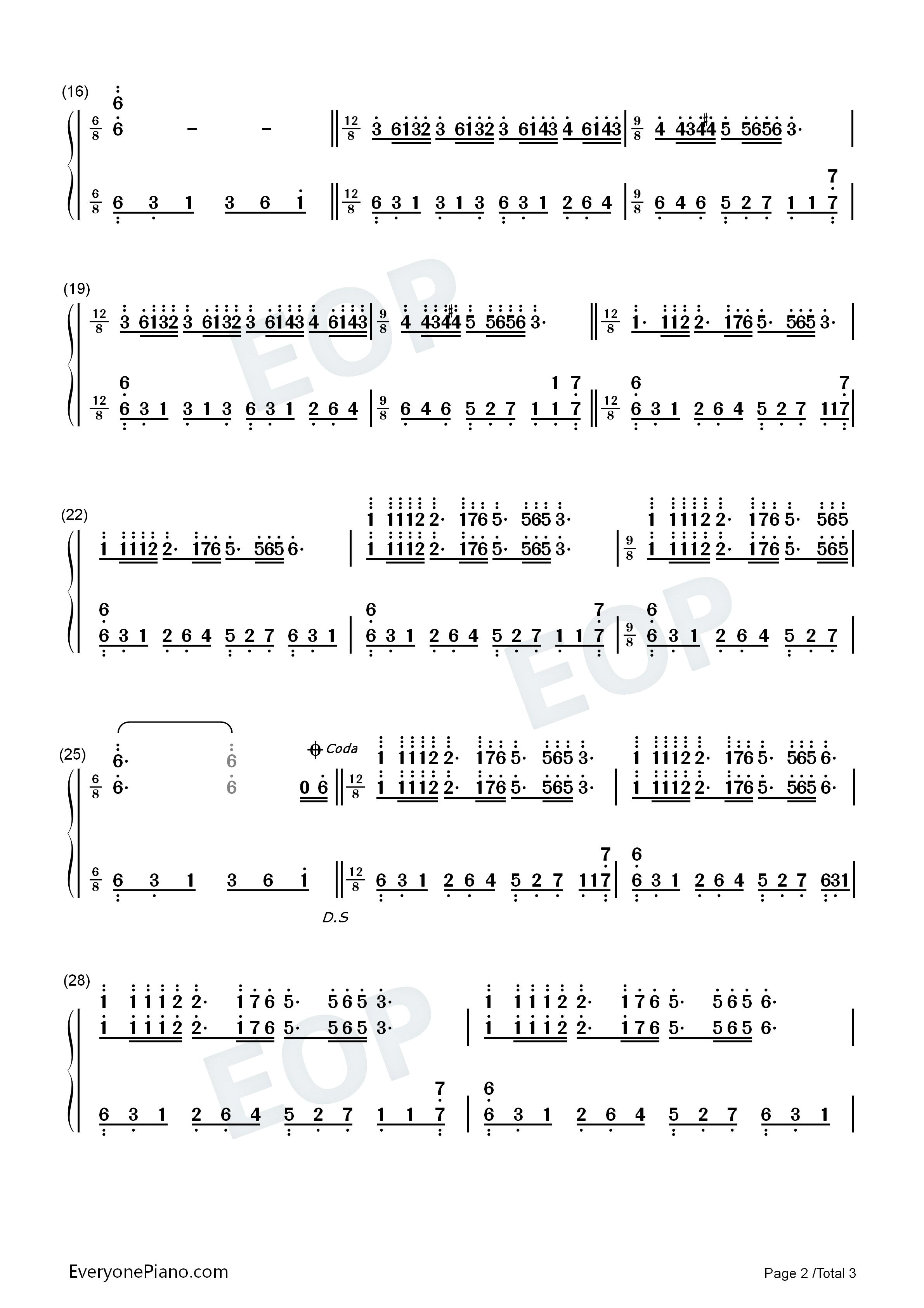 梦中的婚礼-dream wedding双手简谱预览2-钢琴谱(,)