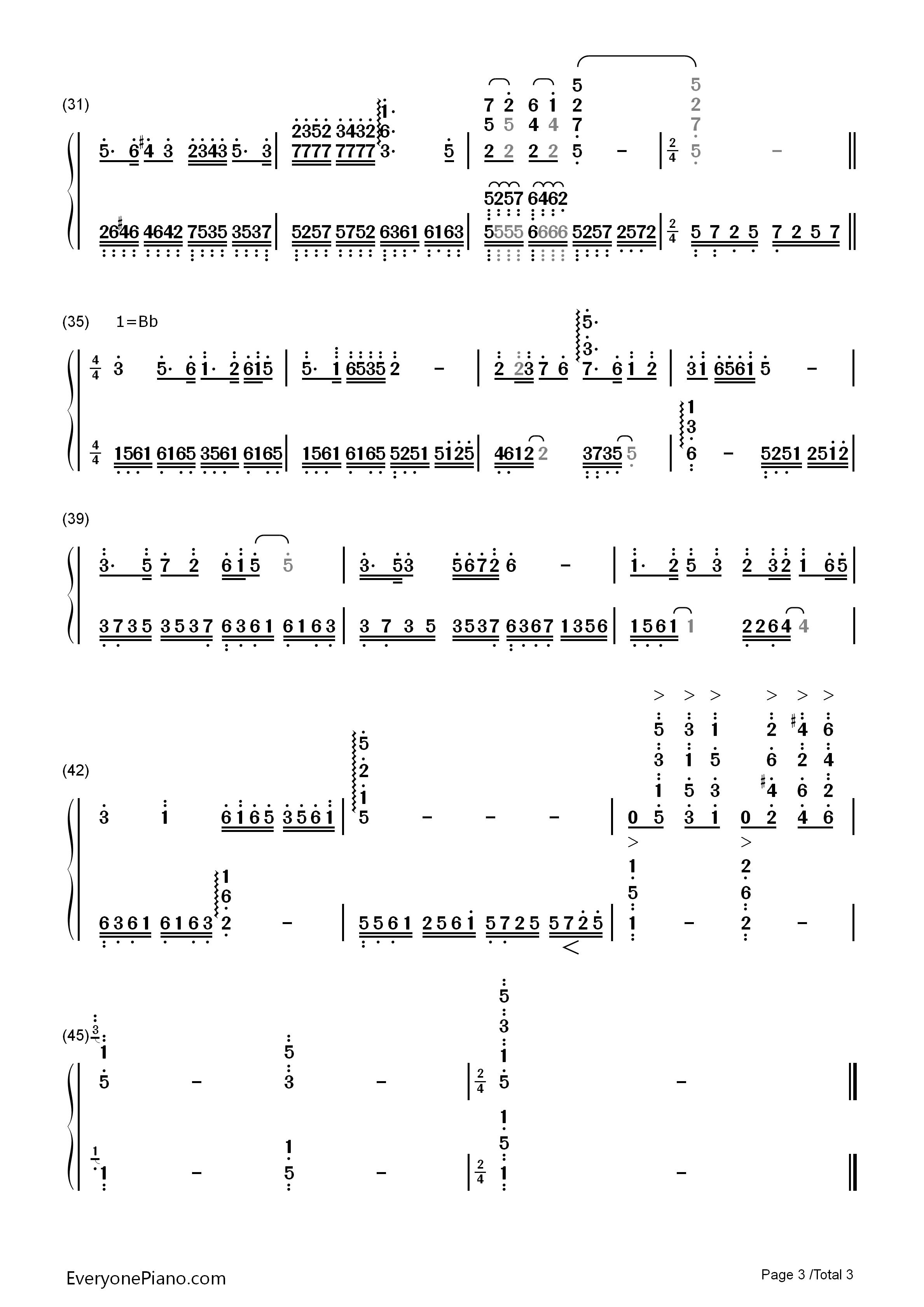 钢琴曲谱 民乐 梁祝 >> 梁祝双手简谱预览3; 梁祝双手简谱预览3-钢琴