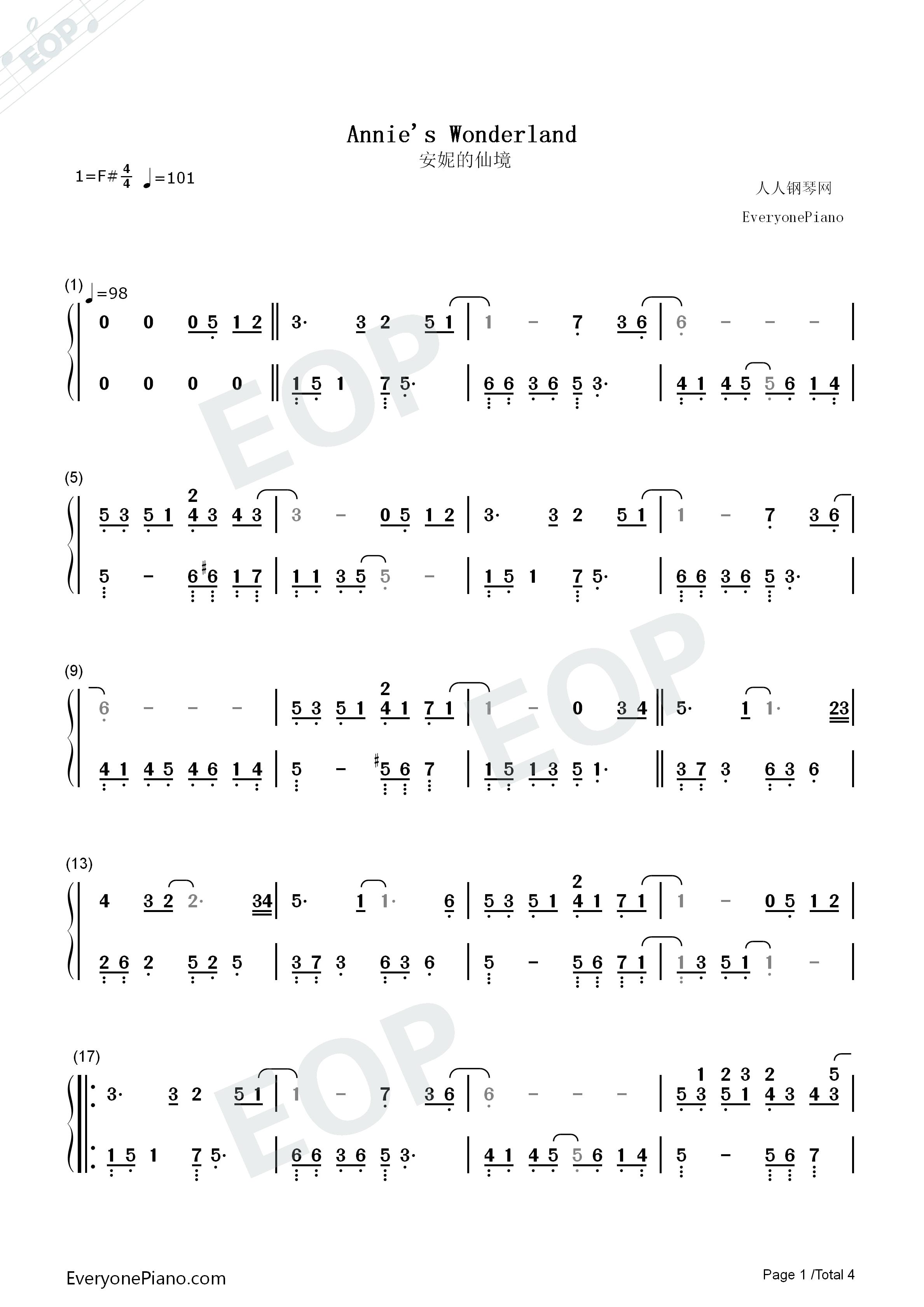 wonderland双手简谱预览1