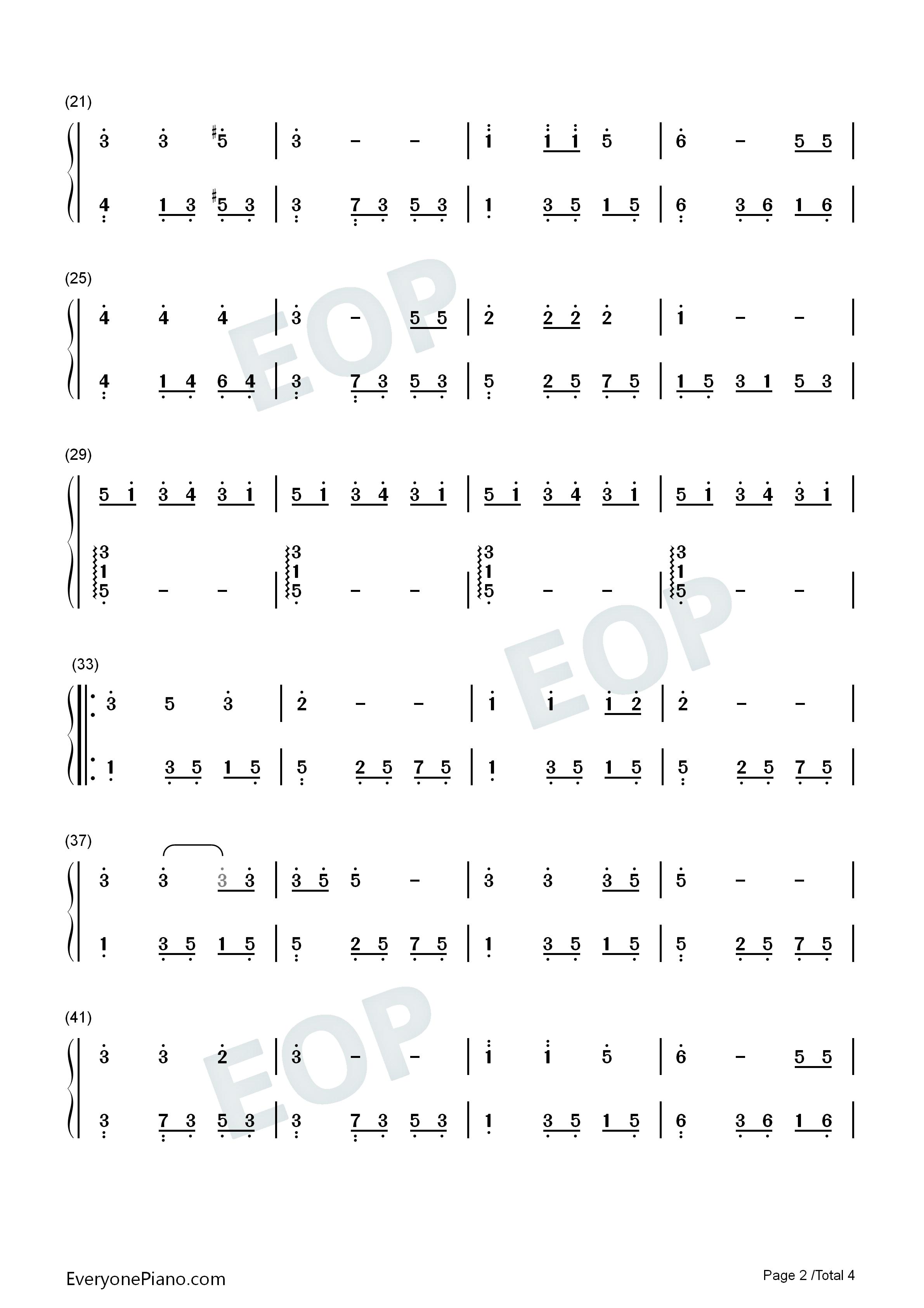 栀子花开双手简谱预览2-钢琴谱
