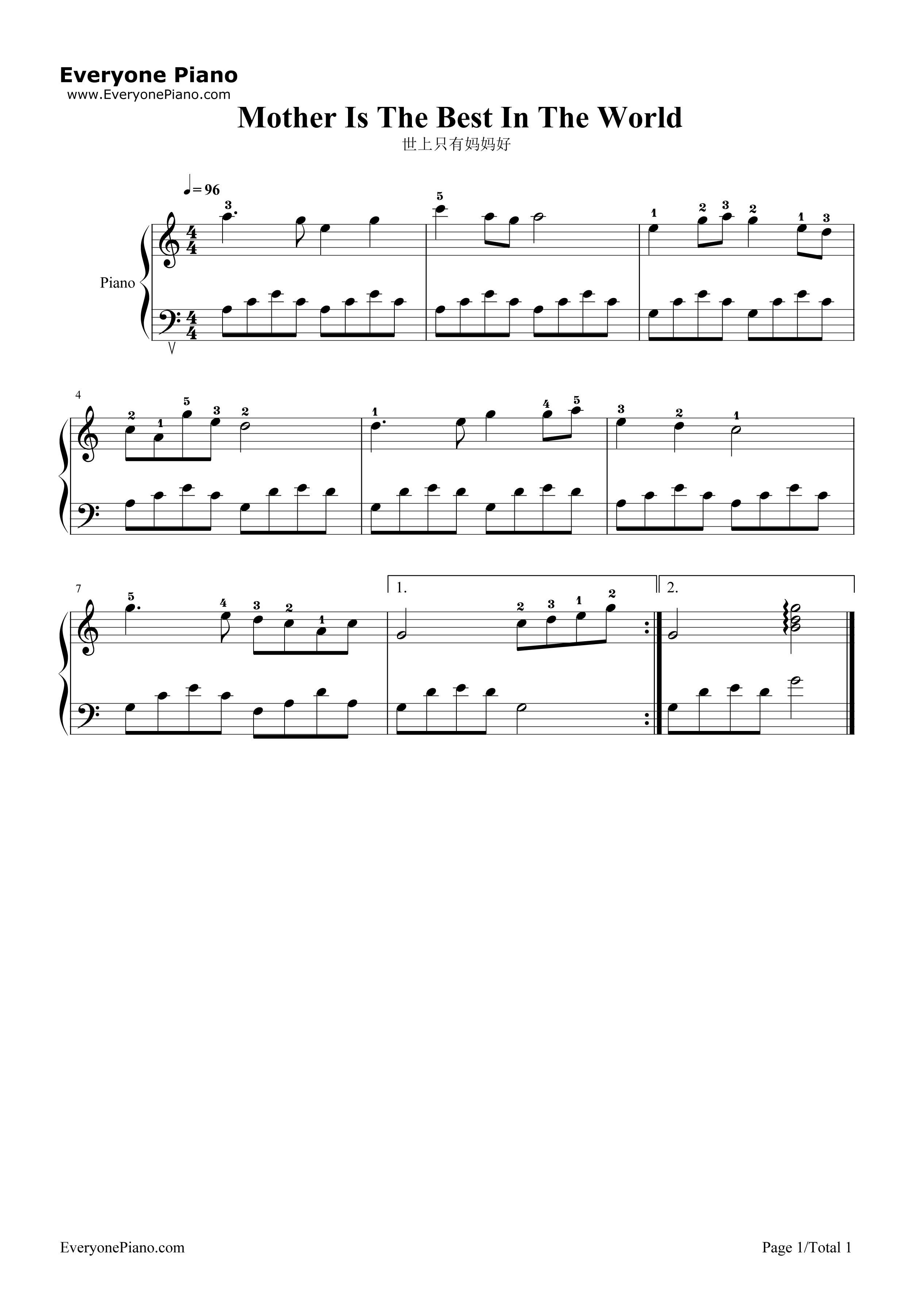 世上只有妈妈好五线谱预览1-钢琴谱(五线谱,双手简谱)