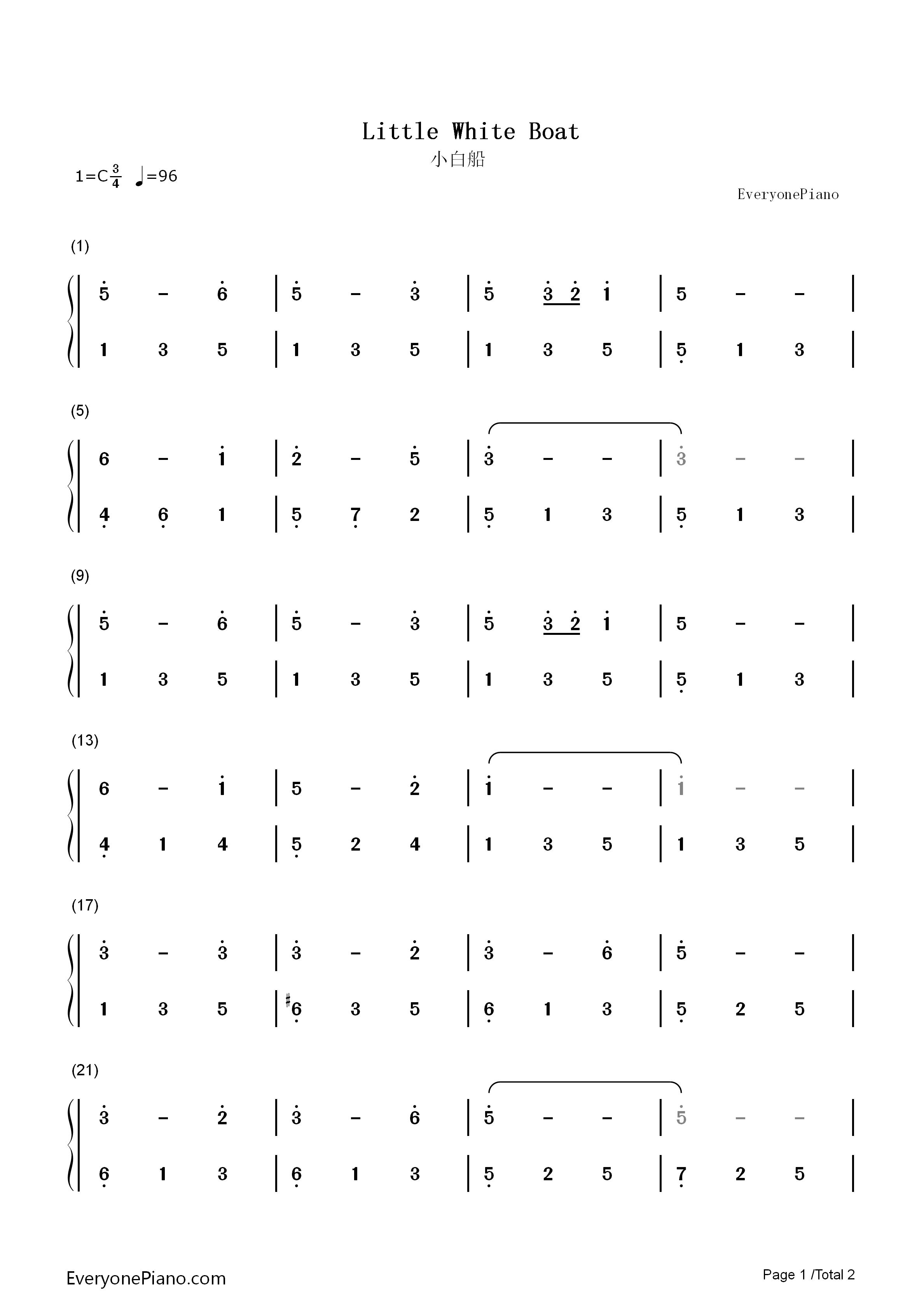 钢琴曲谱 儿歌 小白船 小白船双手简谱预览1  }  仅供学习交流使用!