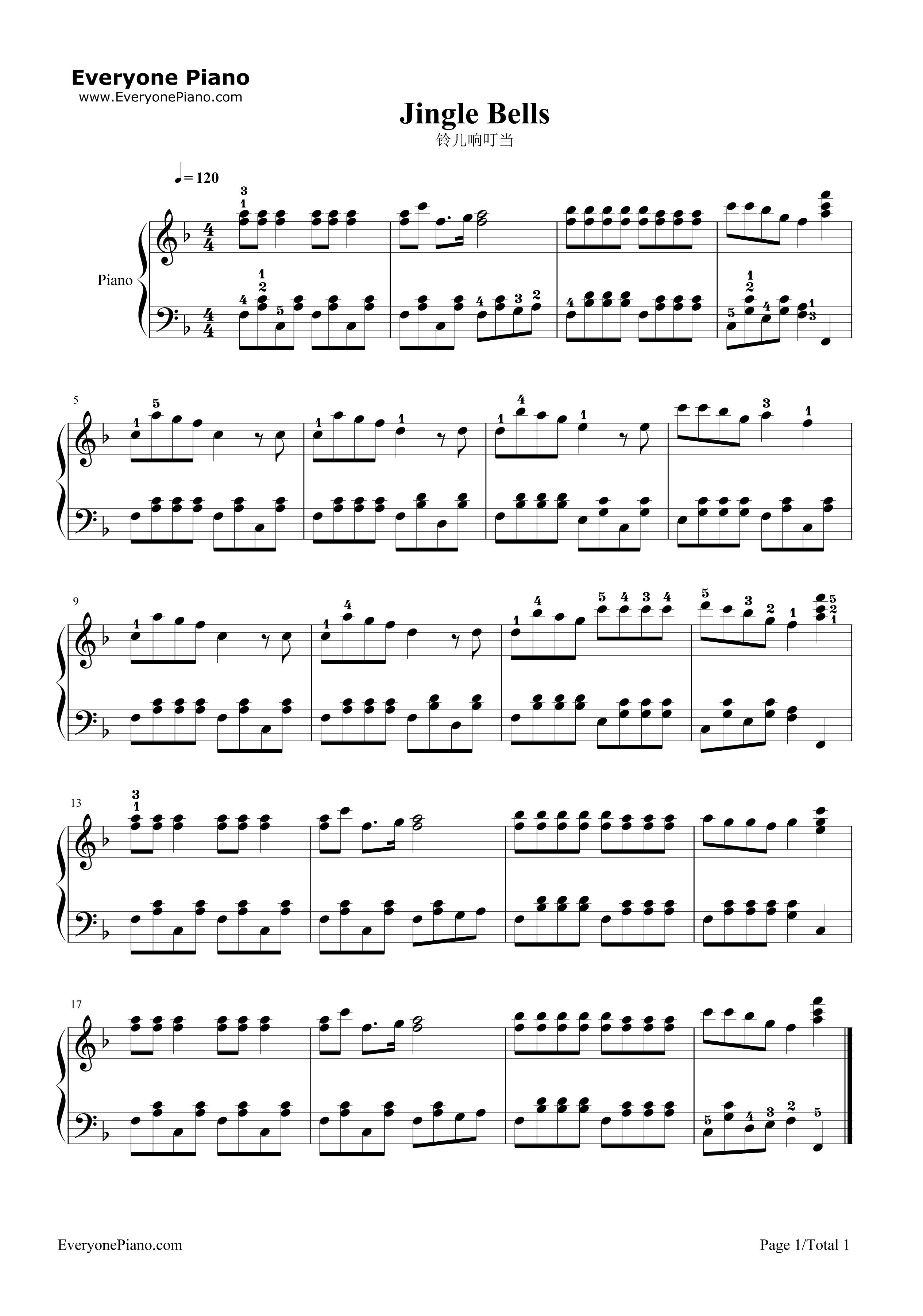铃儿响叮当五线谱预览1-钢琴谱档(五线谱,双手简谱,数