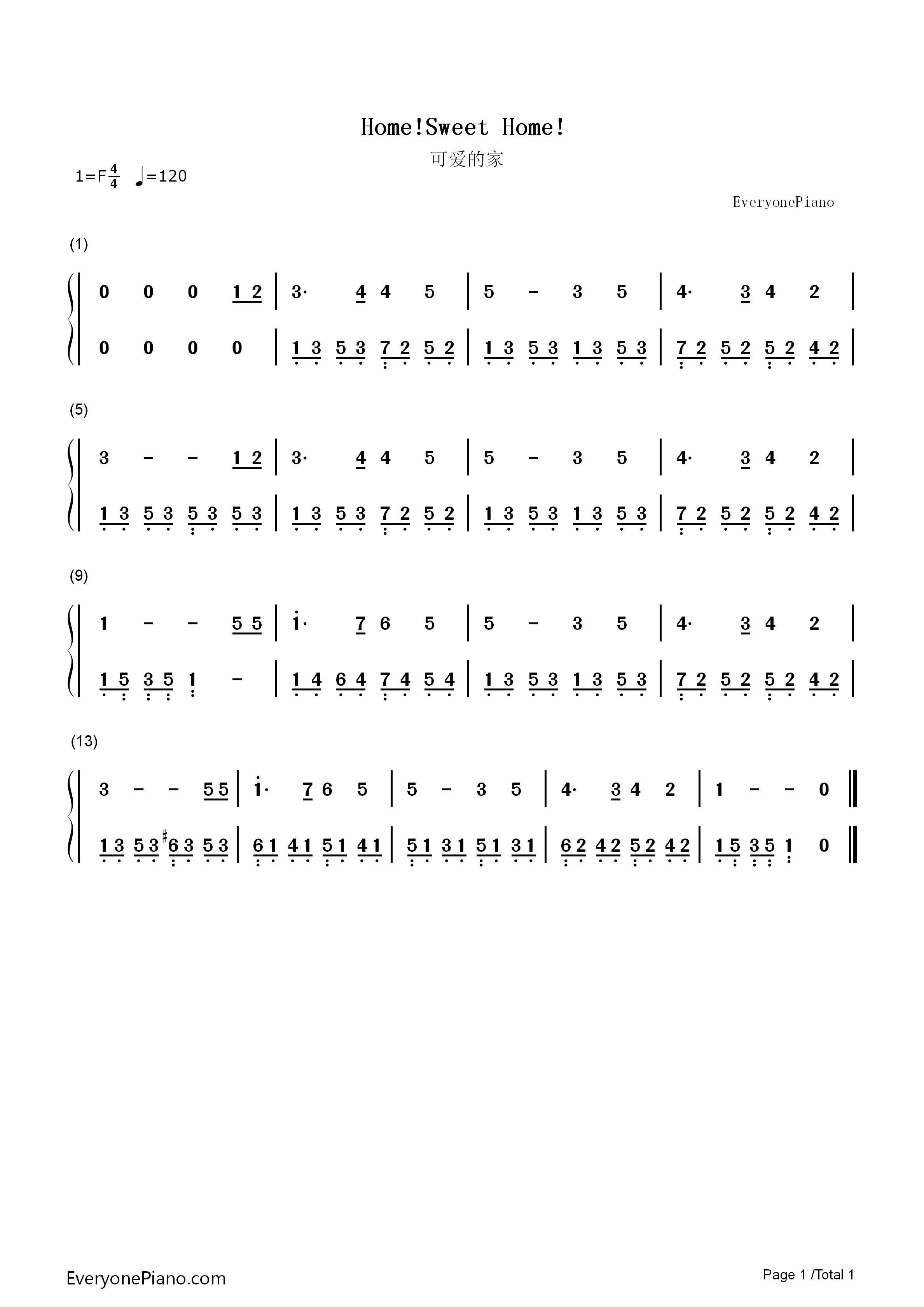 可爱的家双手简谱预览1-钢琴谱