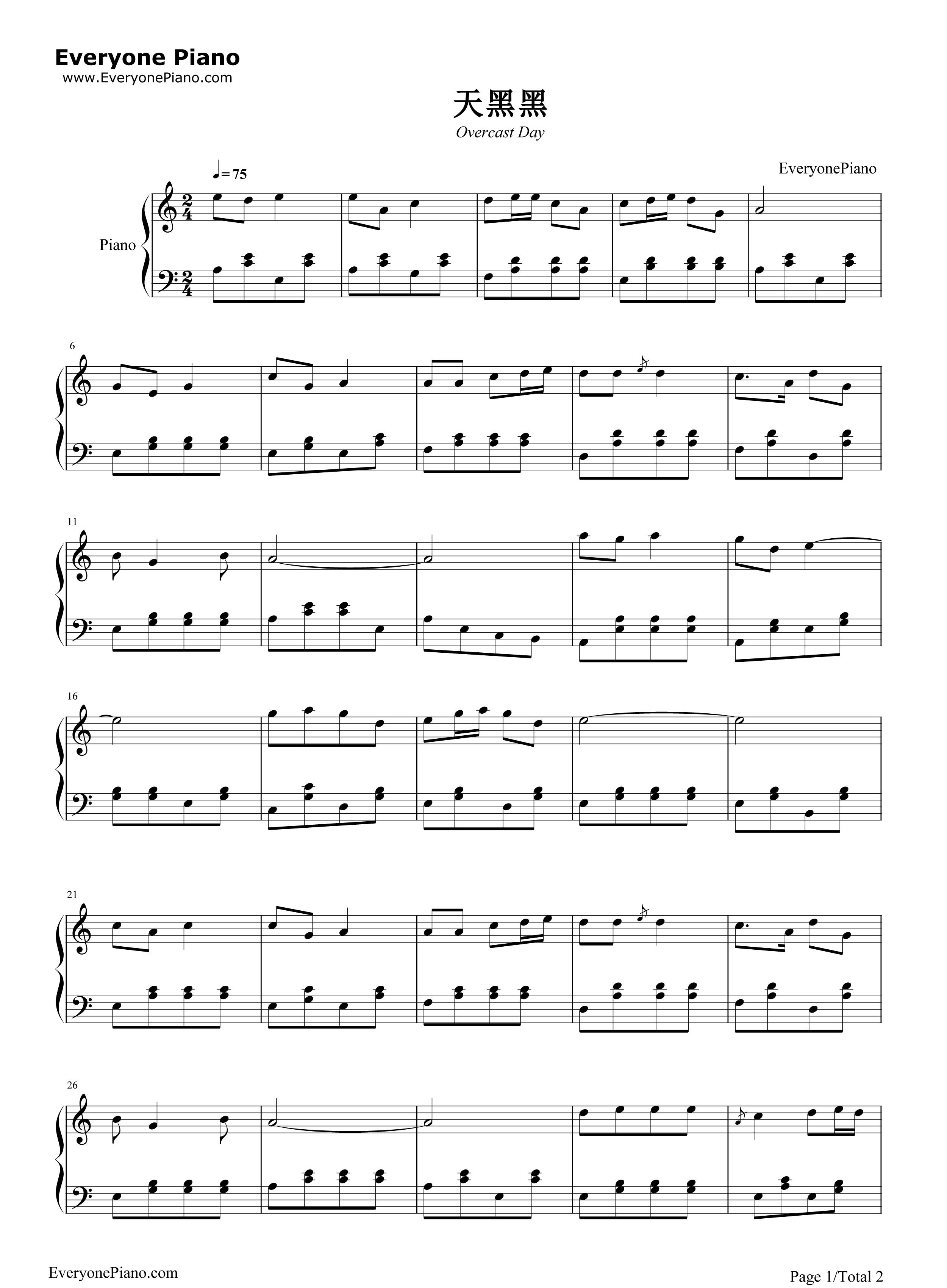 钢琴曲谱 流行 天黑黑 天黑黑五线谱预览1  }  仅供学习交流使用!