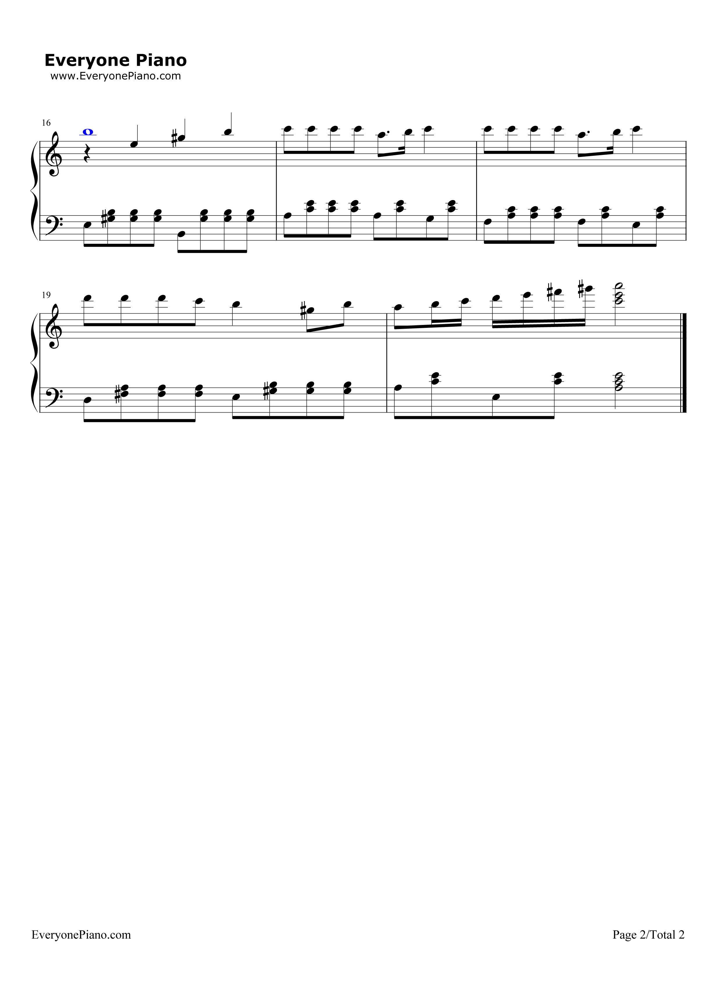歌声与微笑五线谱预览2-钢琴谱(五线谱,双手简谱)免费