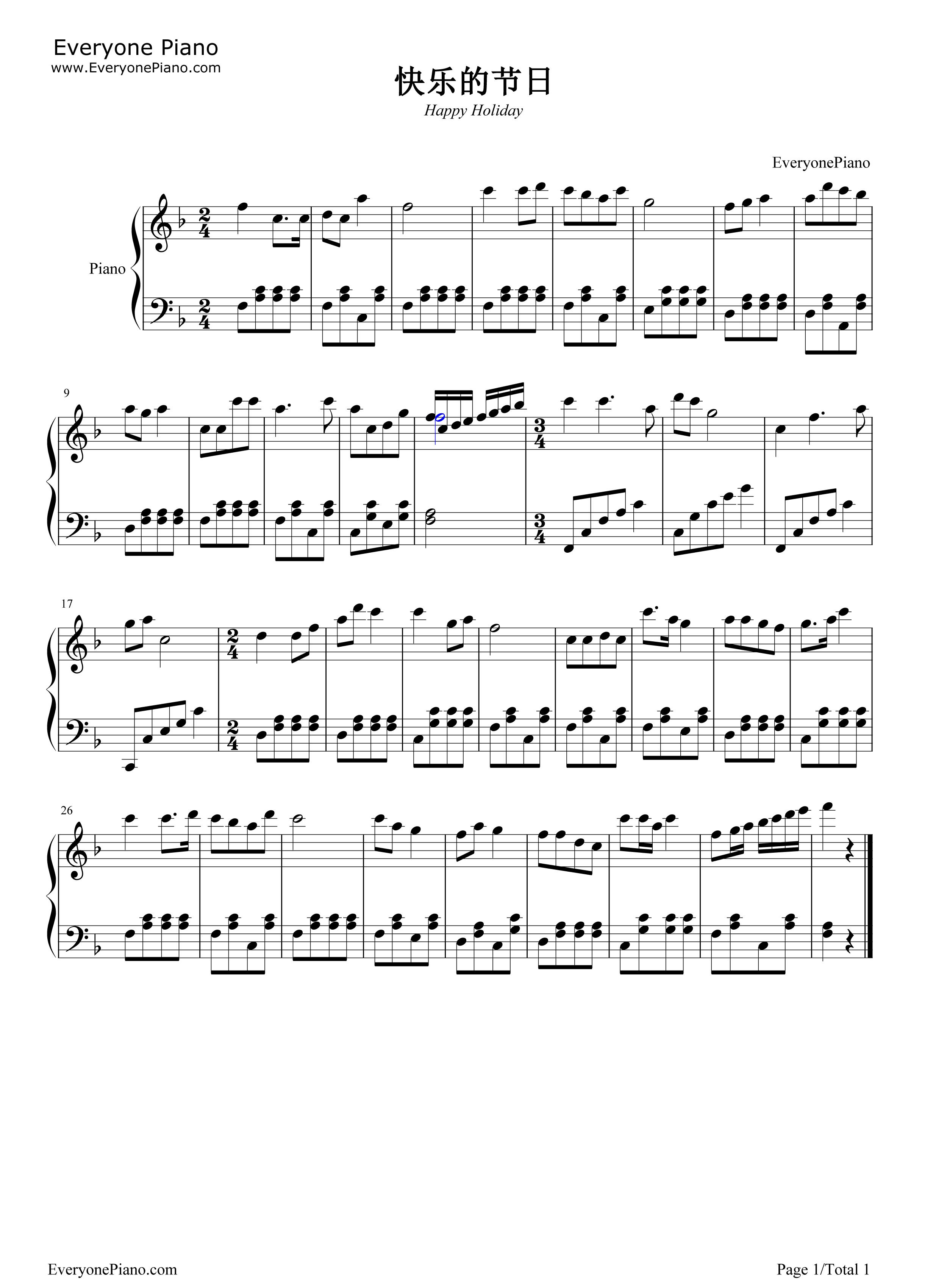 快乐的节日五线谱预览1-钢琴谱档(五线谱,双手简谱,数