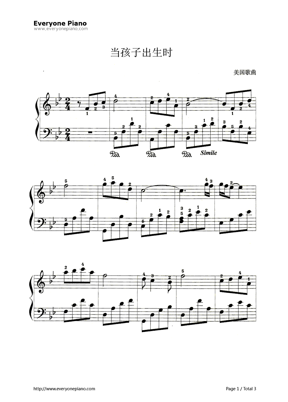 钢琴曲谱 练习曲 当孩子出生时 当孩子出生时五线谱预览1  }  仅供