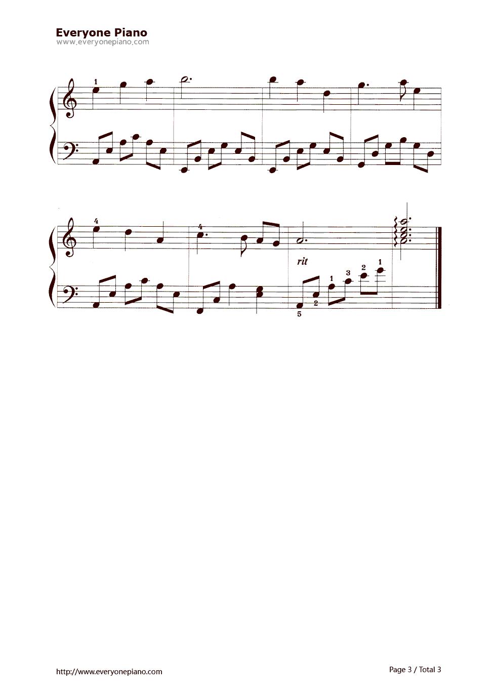 童年的小摇车五线谱预览3-钢琴谱档(五线谱,双手简谱