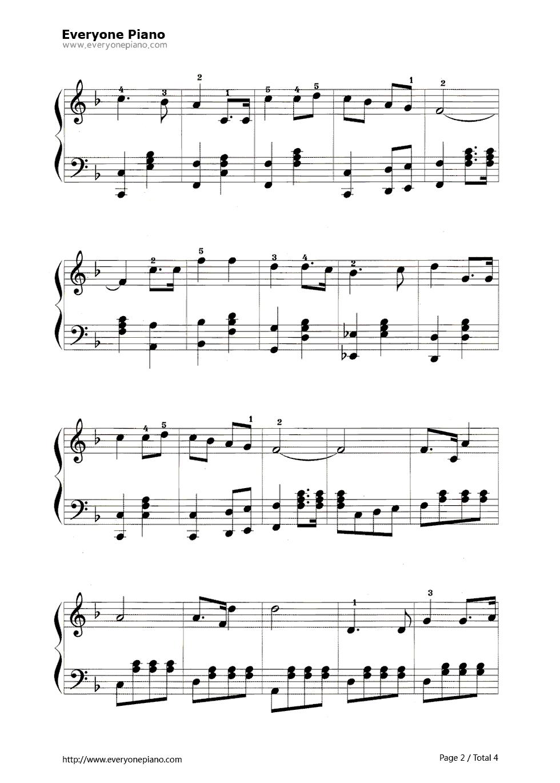 钢琴曲谱 练习曲 歌唱祖国 歌唱祖国五线谱预览2  }  仅供学习交流