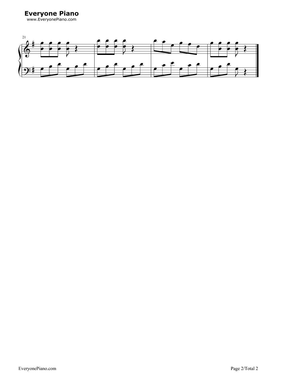 钢琴曲谱 儿歌 小曲-拜厄 小曲-拜厄五线谱预览2