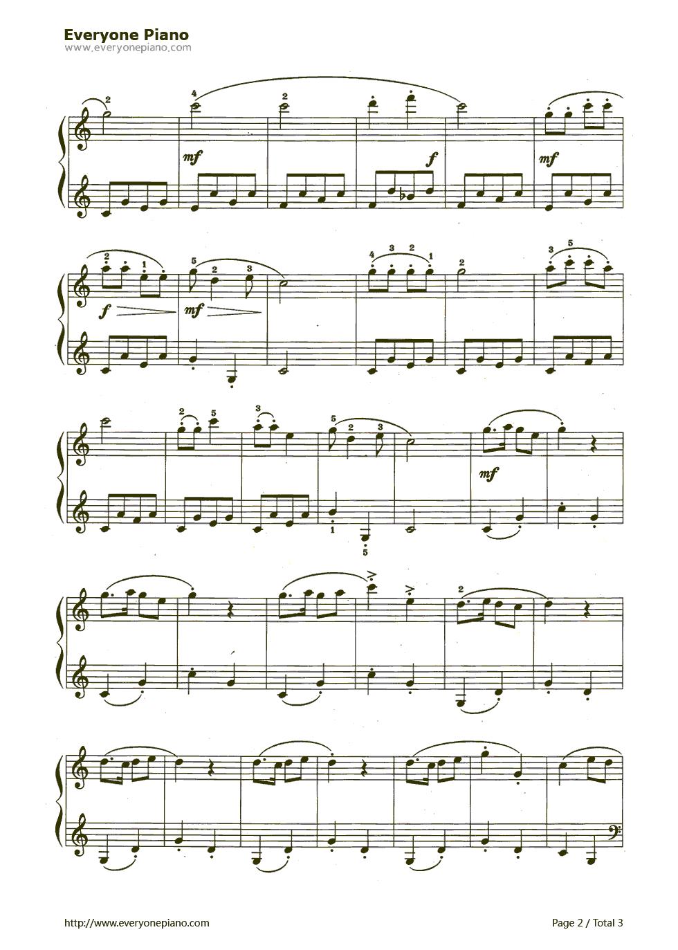 童谣五线谱预览2-钢琴谱档(五线谱,双手简谱,数位谱