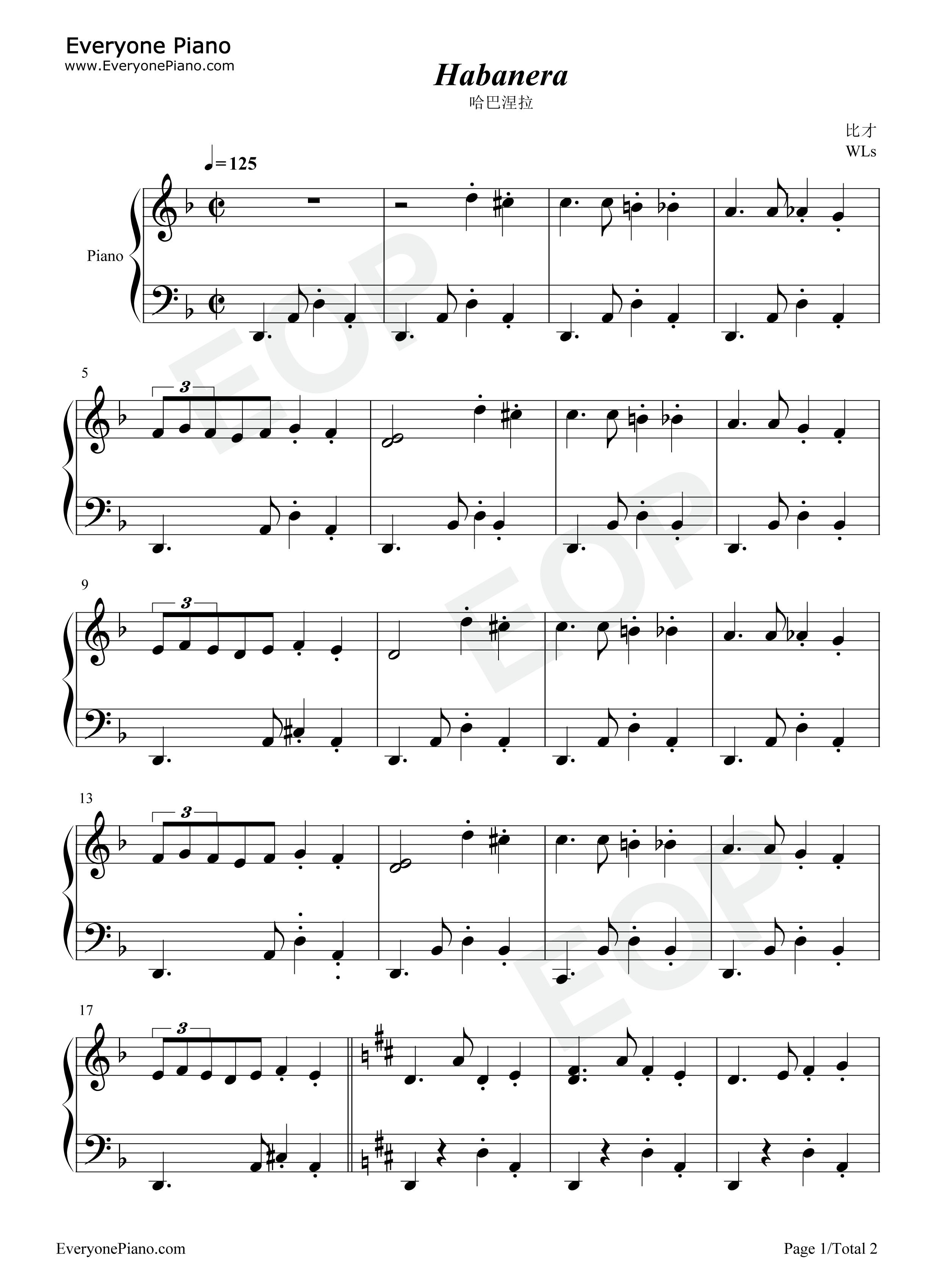 钢琴曲谱 其他 哈巴涅拉 哈巴涅拉五线谱预览1  }  仅供学习交流使用!