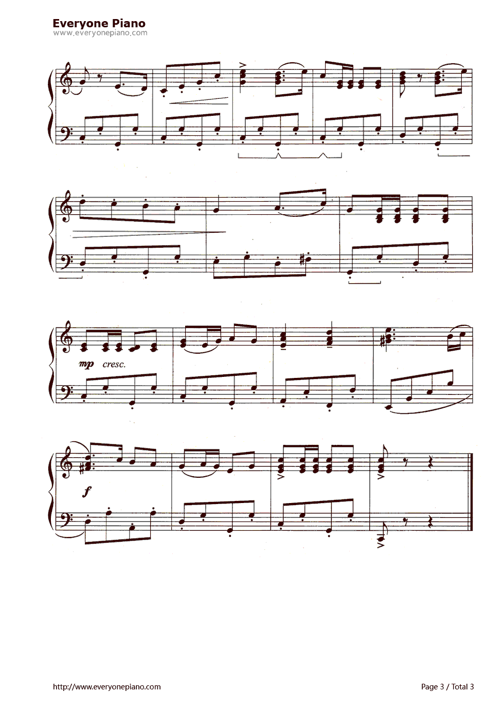 运动员进行曲五线谱预览3-钢琴谱(五线谱,双手简谱)