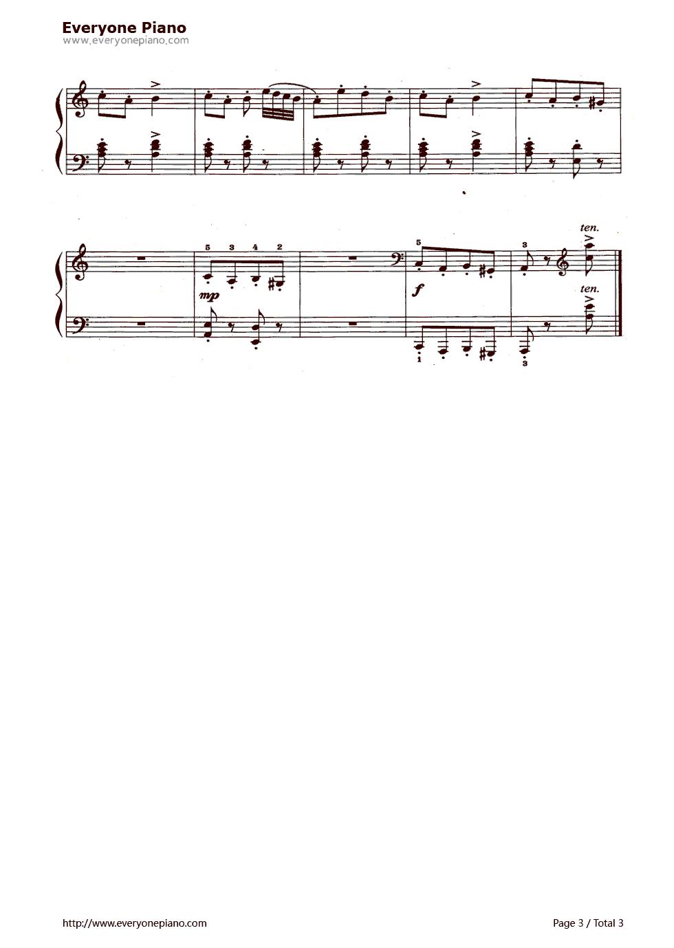 钢琴曲谱 民乐 三个小矮人 三个小矮人五线谱预览3  }  仅供学习交流