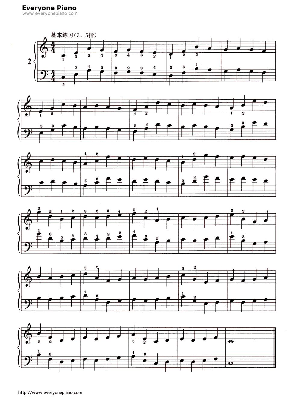 哈农基本练习2五线谱预览1-钢琴谱(五线谱,双手简谱)