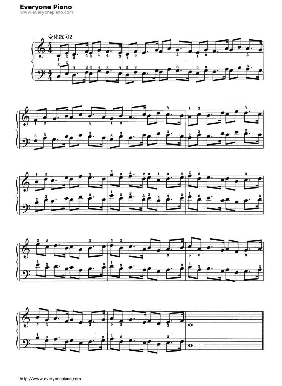 钢琴曲谱 练习曲 哈农基本练习7 哈农基本练习7五线谱预览3  }  仅供