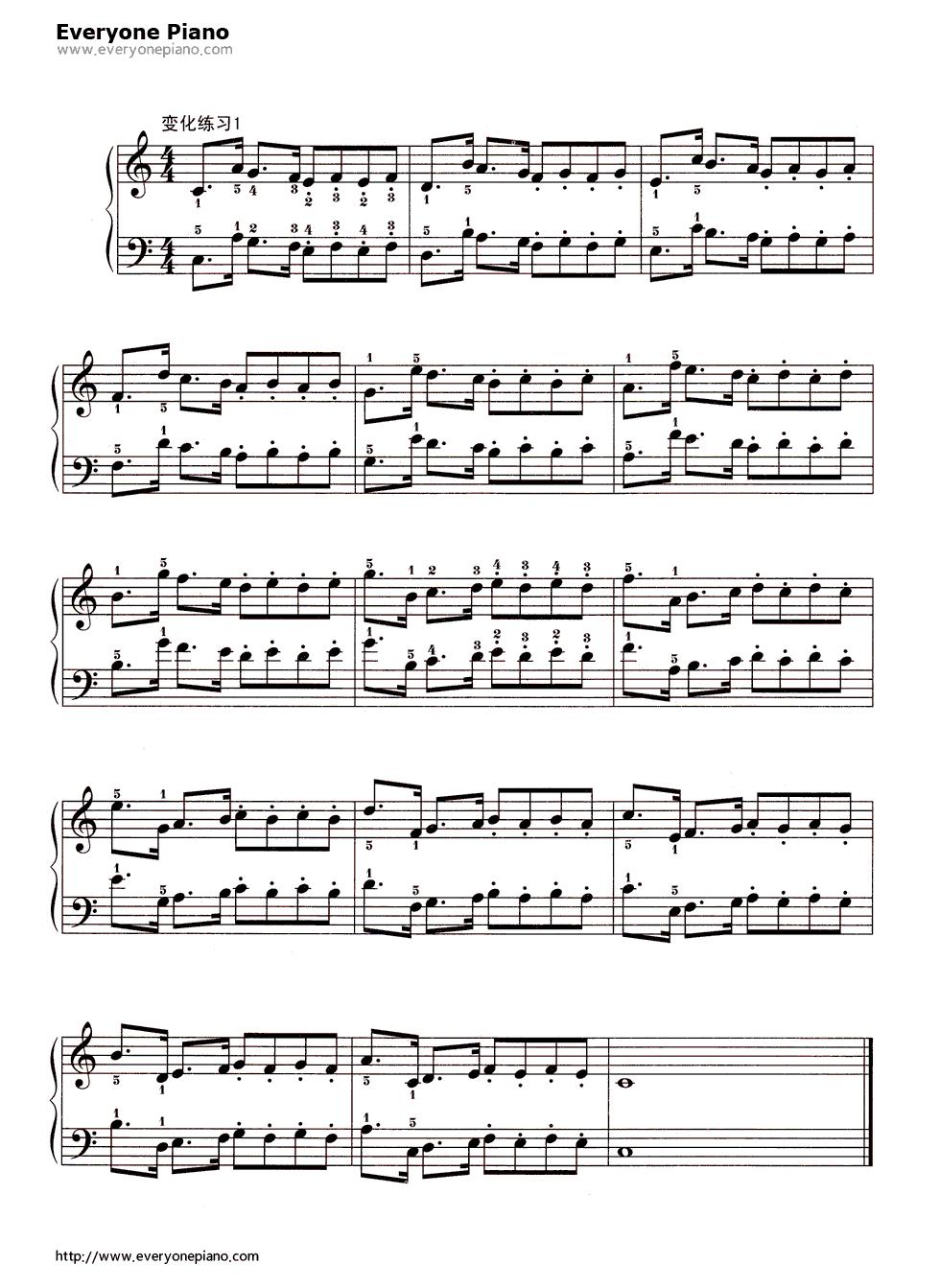 哈农基本练习10五线谱预览2-钢琴谱档(五线谱,双手,数