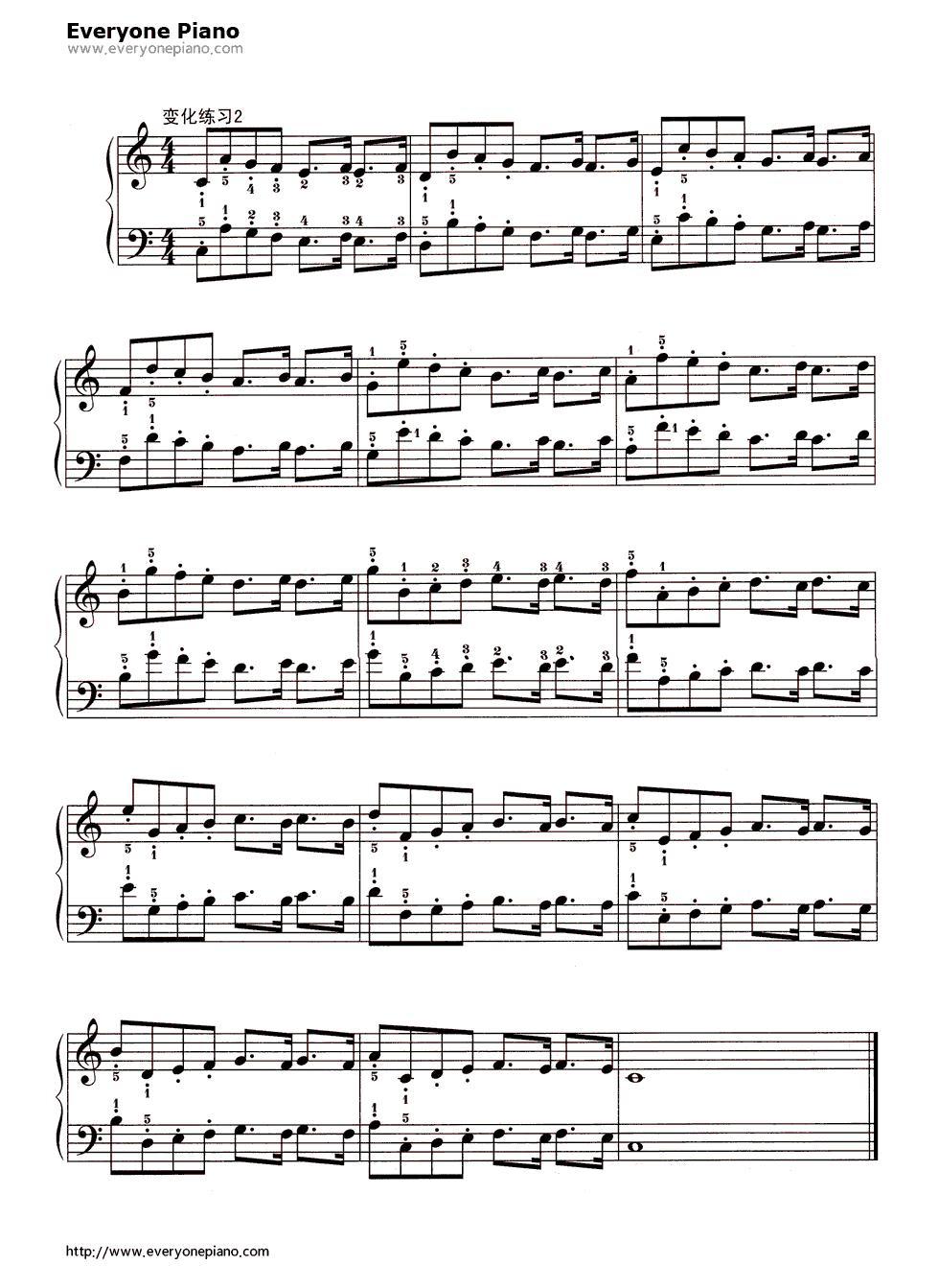 哈农钢琴指练习简谱 哈农钢琴指练习1 哈农钢琴指练习