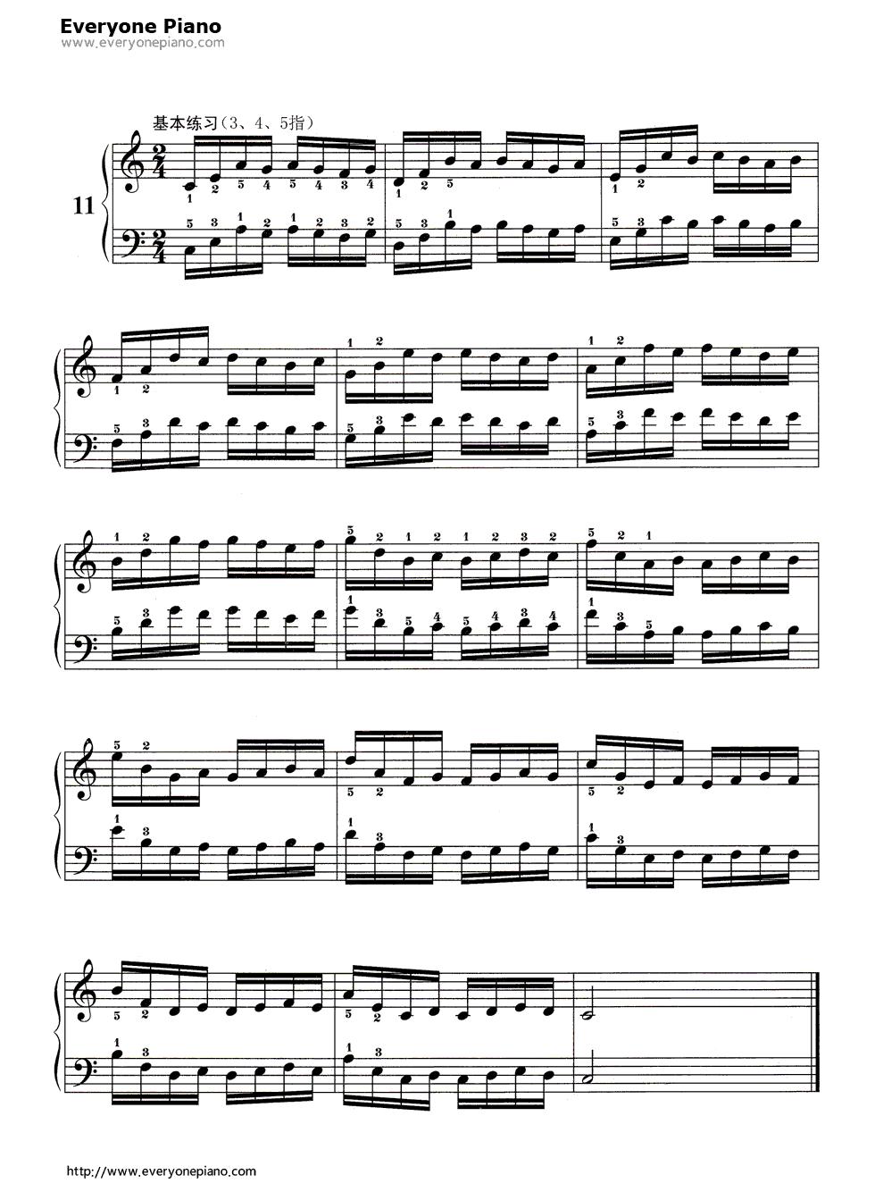 哈农基本练习11五线谱预览1-钢琴谱档(五线谱,双手,数