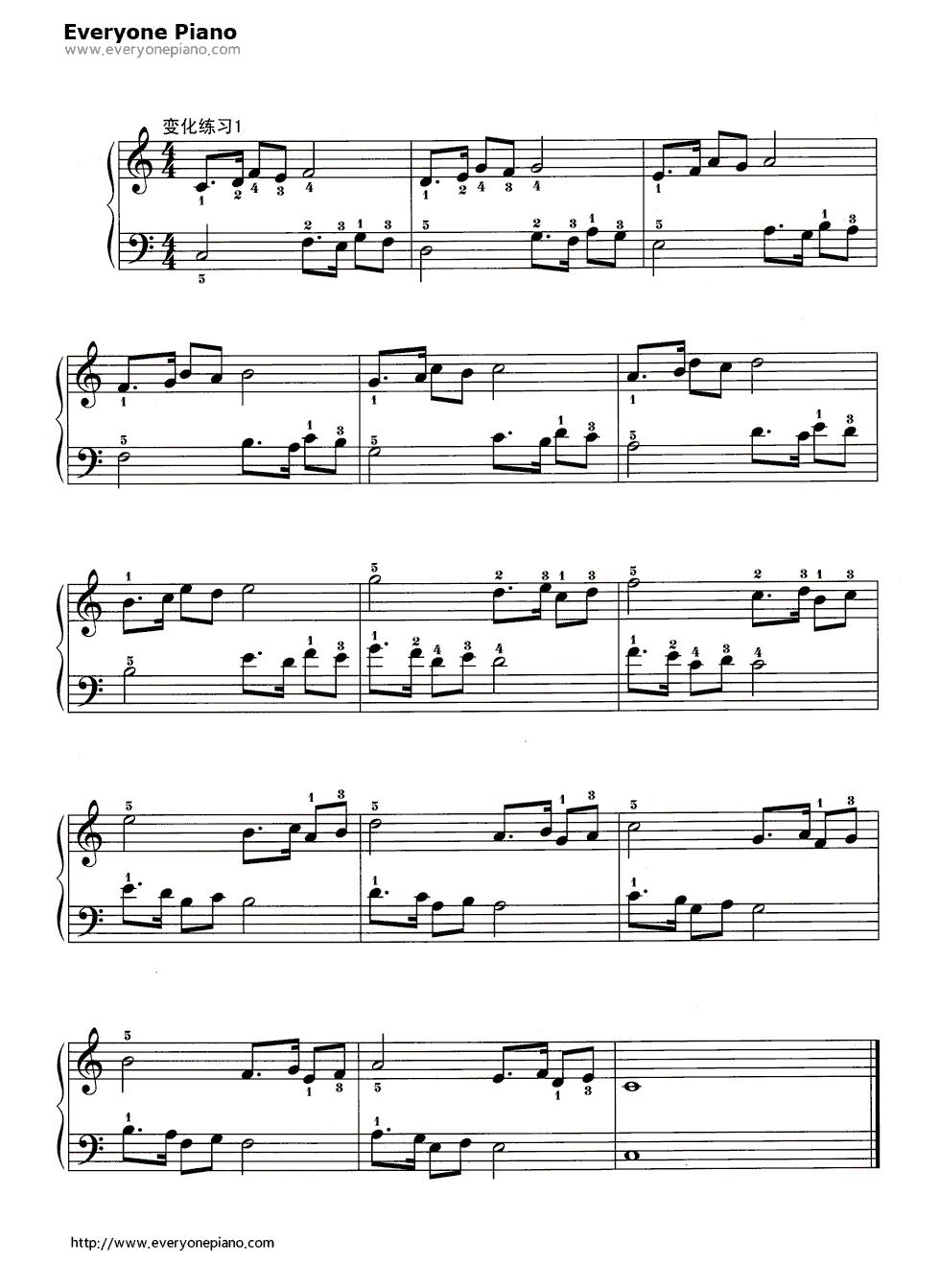 哈农基本练习14五线谱预览2-钢琴谱(五线谱,双手简谱)图片