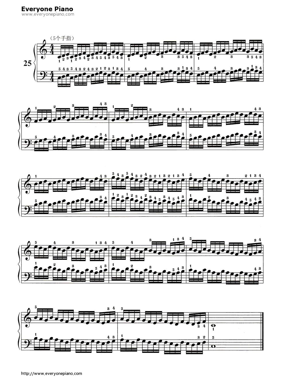 哈农基本练习25五线谱预览1-钢琴谱(五线谱,双手简谱)