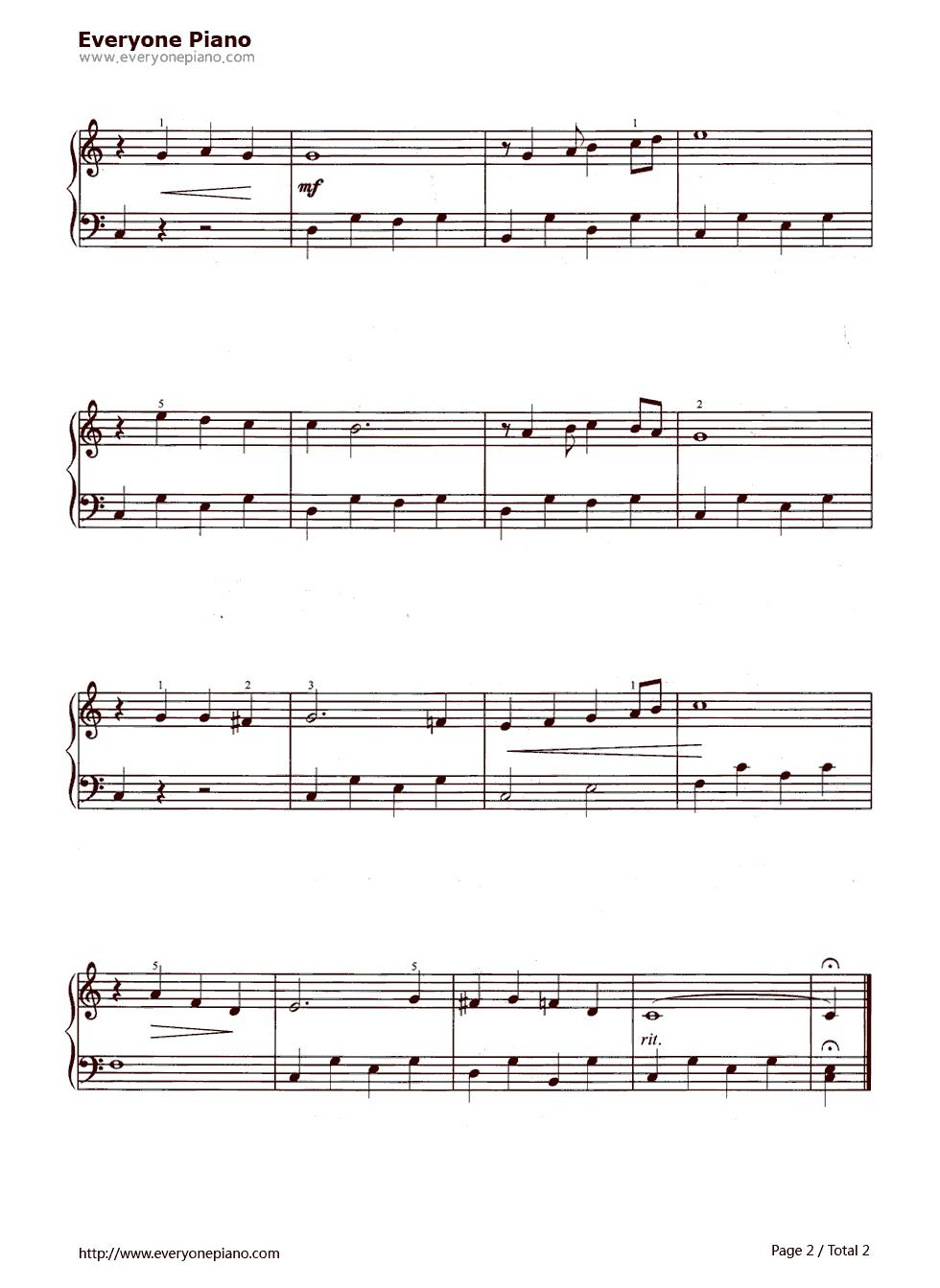 燕子五线谱预览2-钢琴谱(五线谱,双手简谱)免费下载