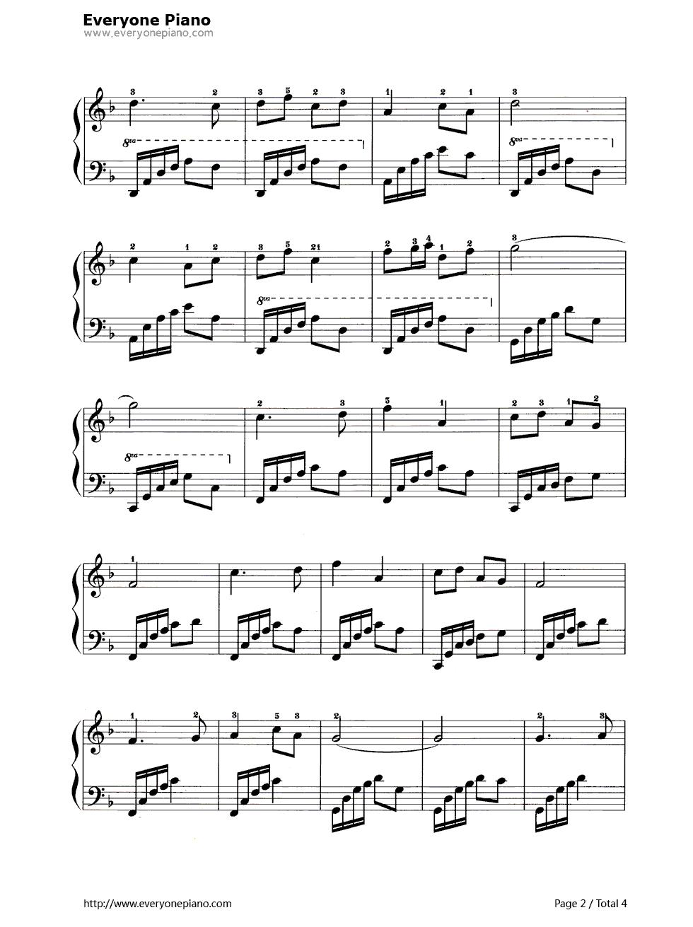 钢琴曲谱 经典 黄水谣 黄水谣五线谱预览2