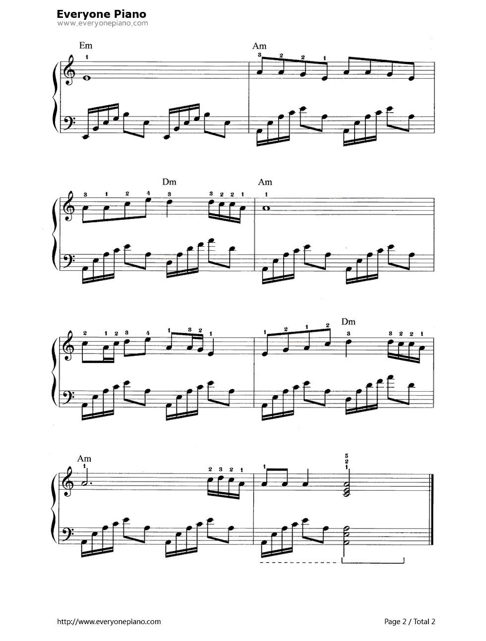 钢琴曲谱 原创 北京的金山上 北京的金山上五线谱预览2  }  仅供学习