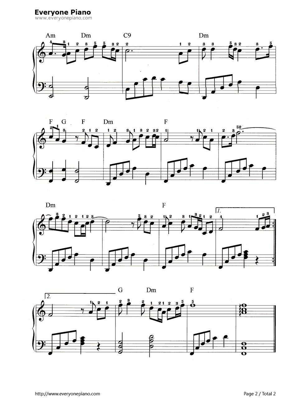 牡丹之歌五线谱预览2