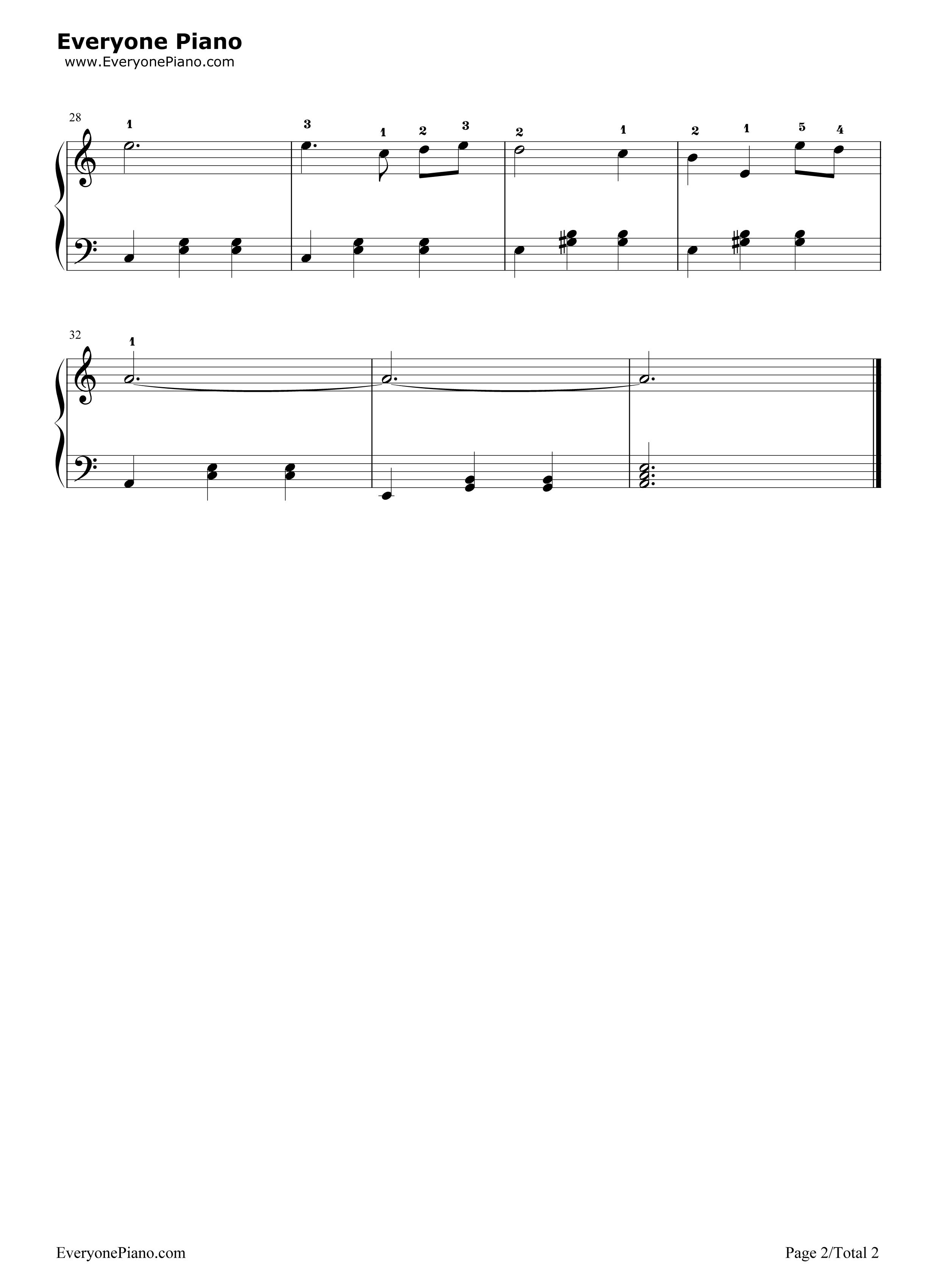 白桦林五线谱预览2-钢琴谱(五线谱,双手简谱)免费下载