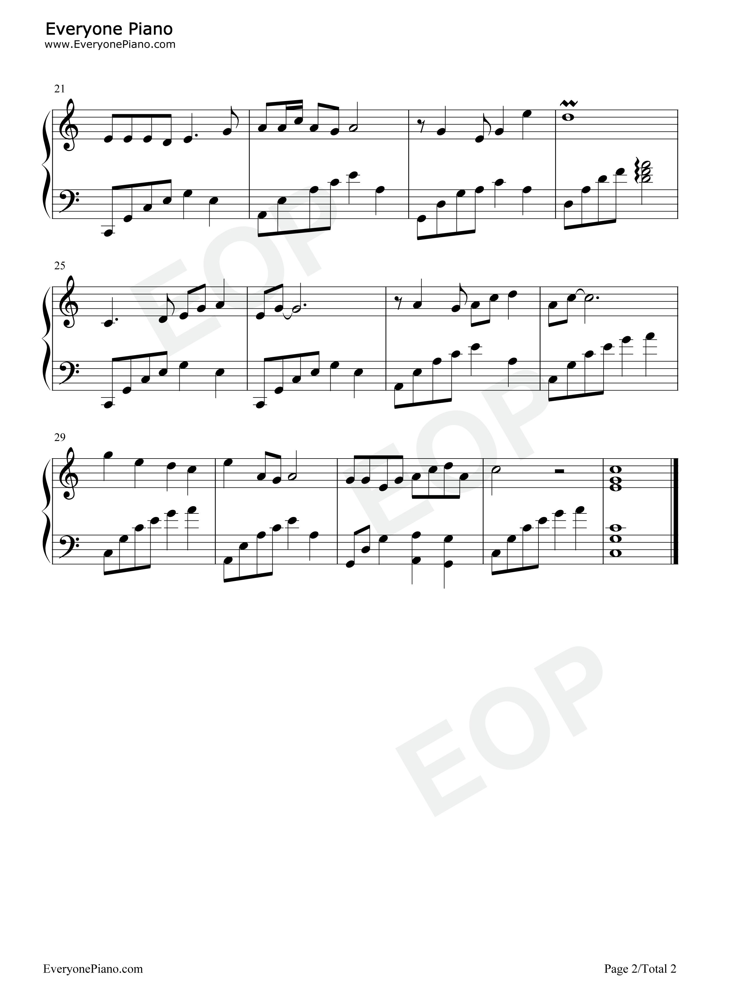 钢琴曲谱 流行 相见在明天 相见在明天五线谱预览2  }  仅供学习交流