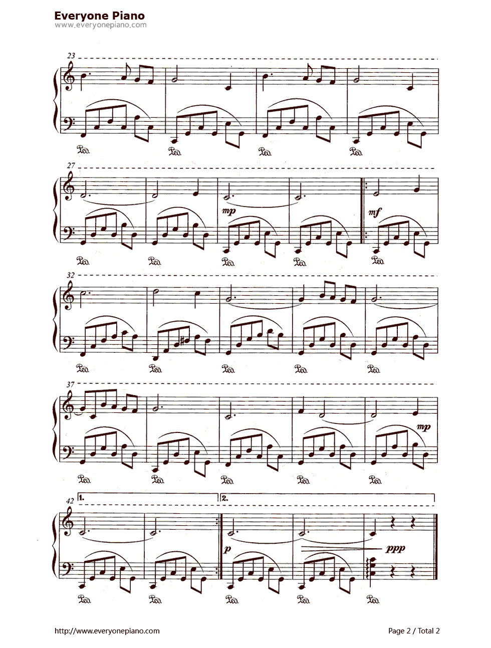 钢琴曲谱 经典 月亮河(moon river) 月亮河(moon river)五线谱预览2