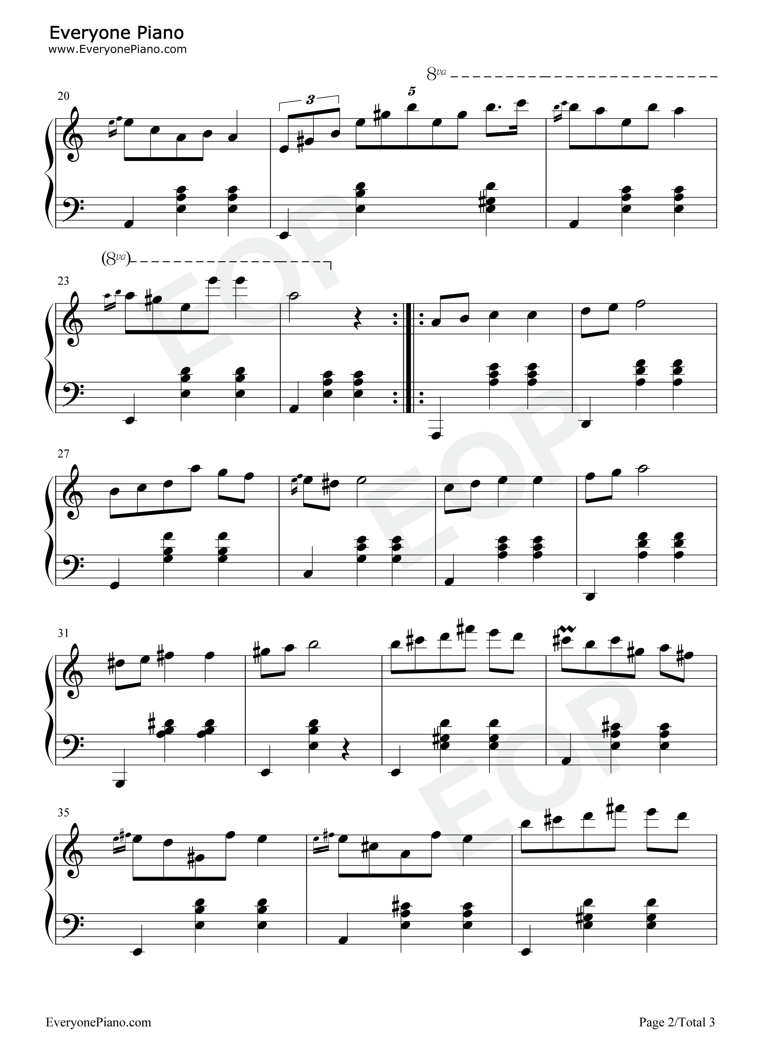 圆舞曲(waltz)五线谱预览2-钢琴谱(五线谱,双手简谱)