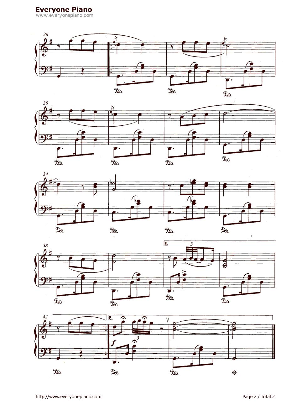 钢琴曲谱 经典 我的太阳(o sole mio ) 我的太阳(o sole mio )五线谱