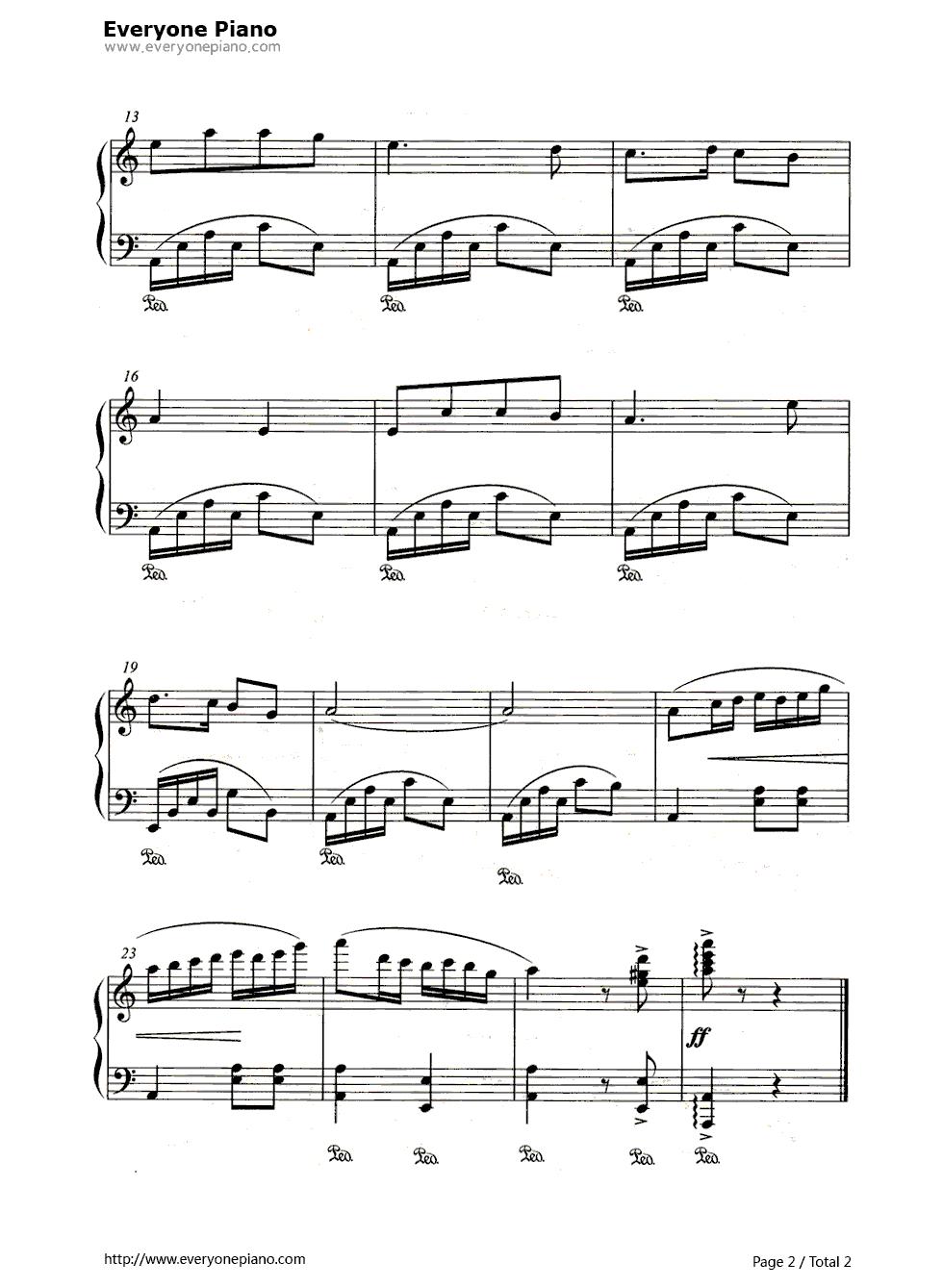 预览2-钢琴谱(五线谱,双手简谱)免费下载; 兰花草吉他谱图片分享下载
