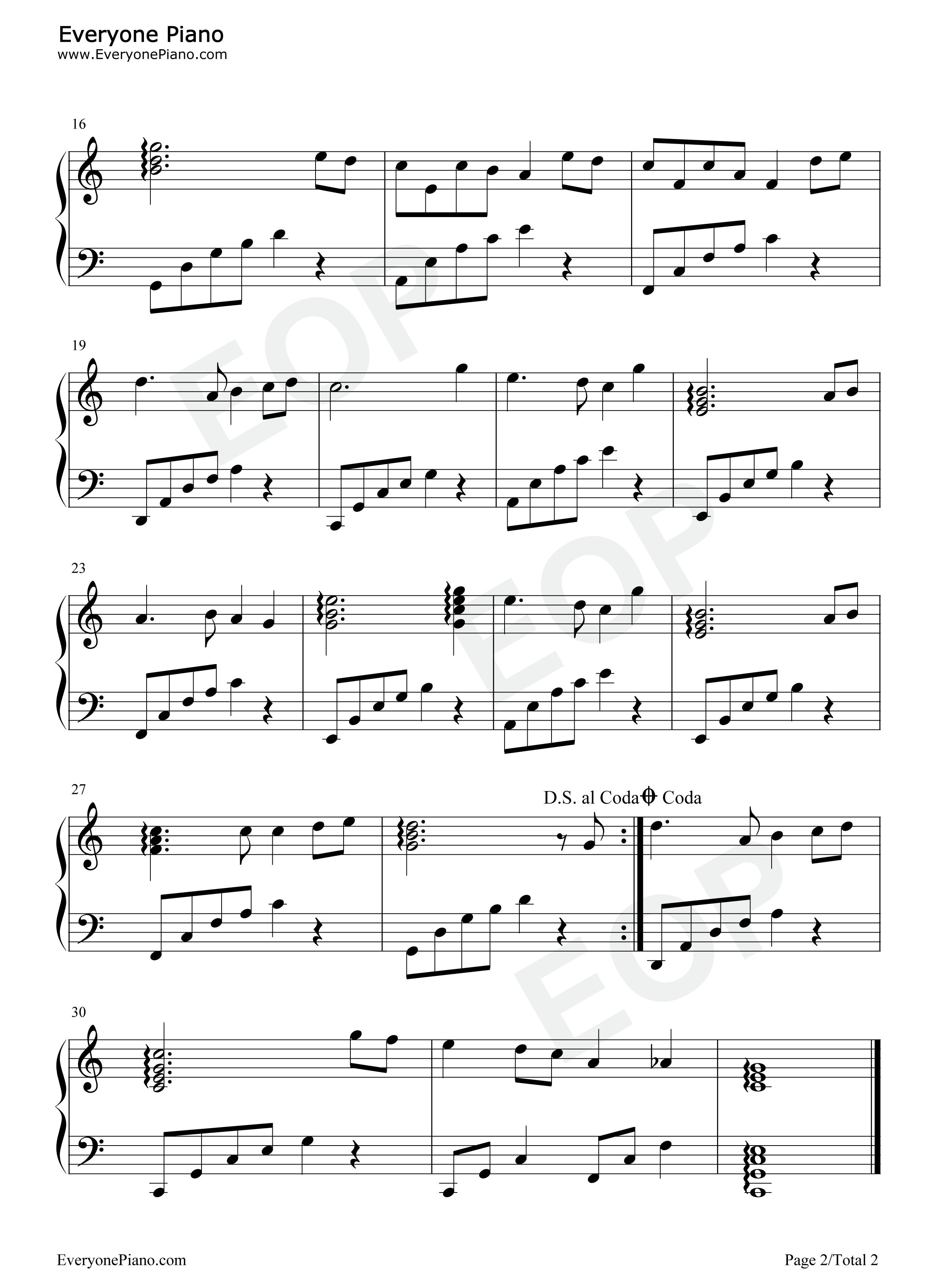 月亮代表我的心五线谱,简谱对应版五线谱预览2-钢琴谱