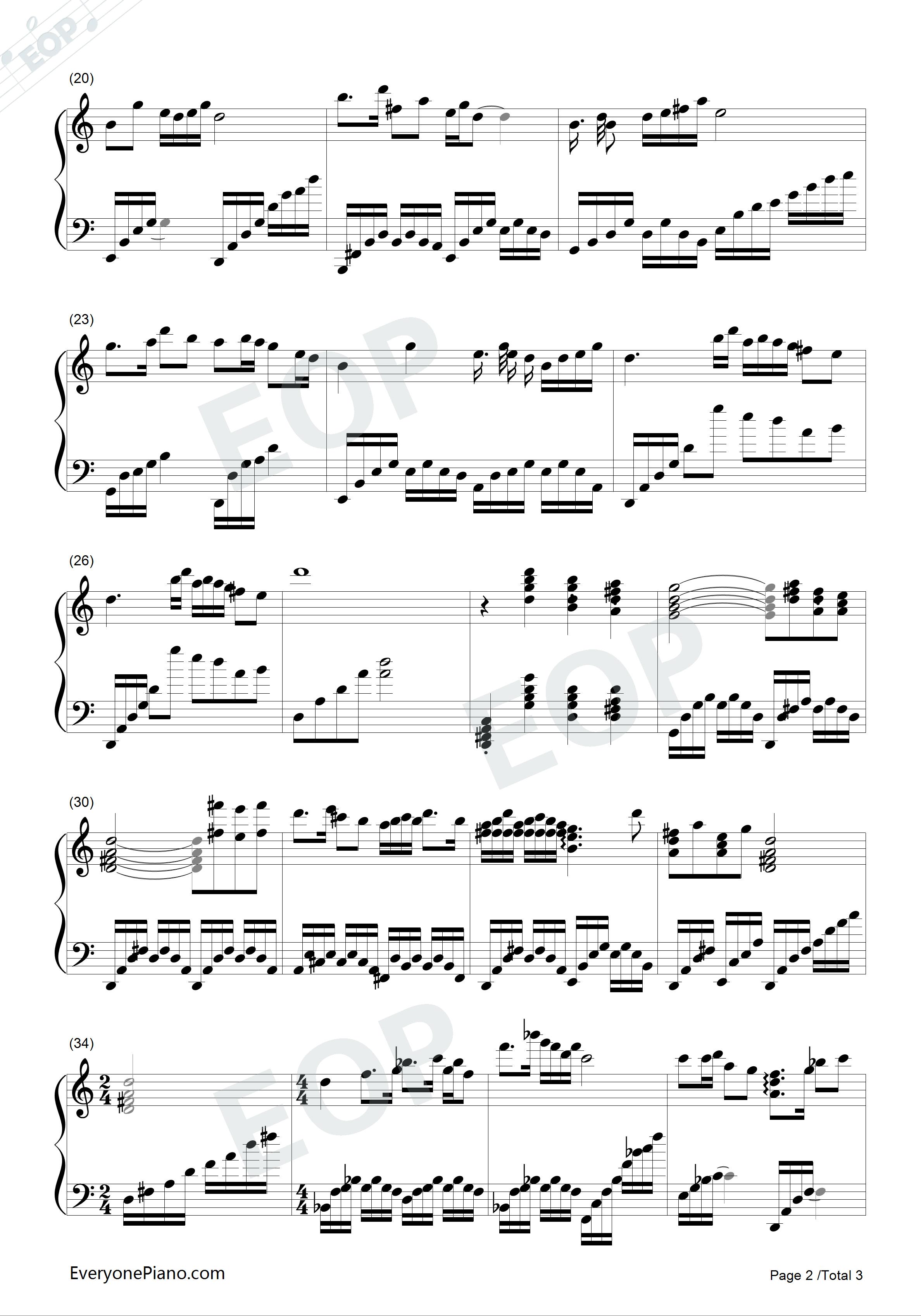 小提琴协奏曲《梁祝》主题曲五线谱预览2