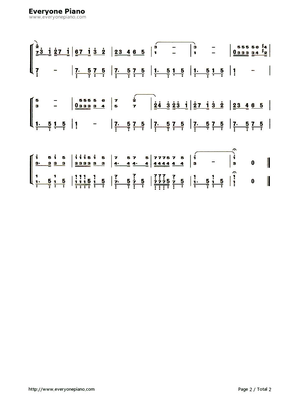 钢琴曲谱 民乐 鸽子五线谱,简谱对应版 鸽子五线谱,简谱对应版双手