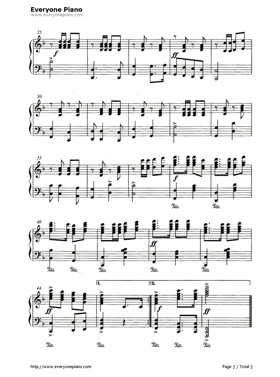 歌唱祖国-第二国歌五线谱预览2