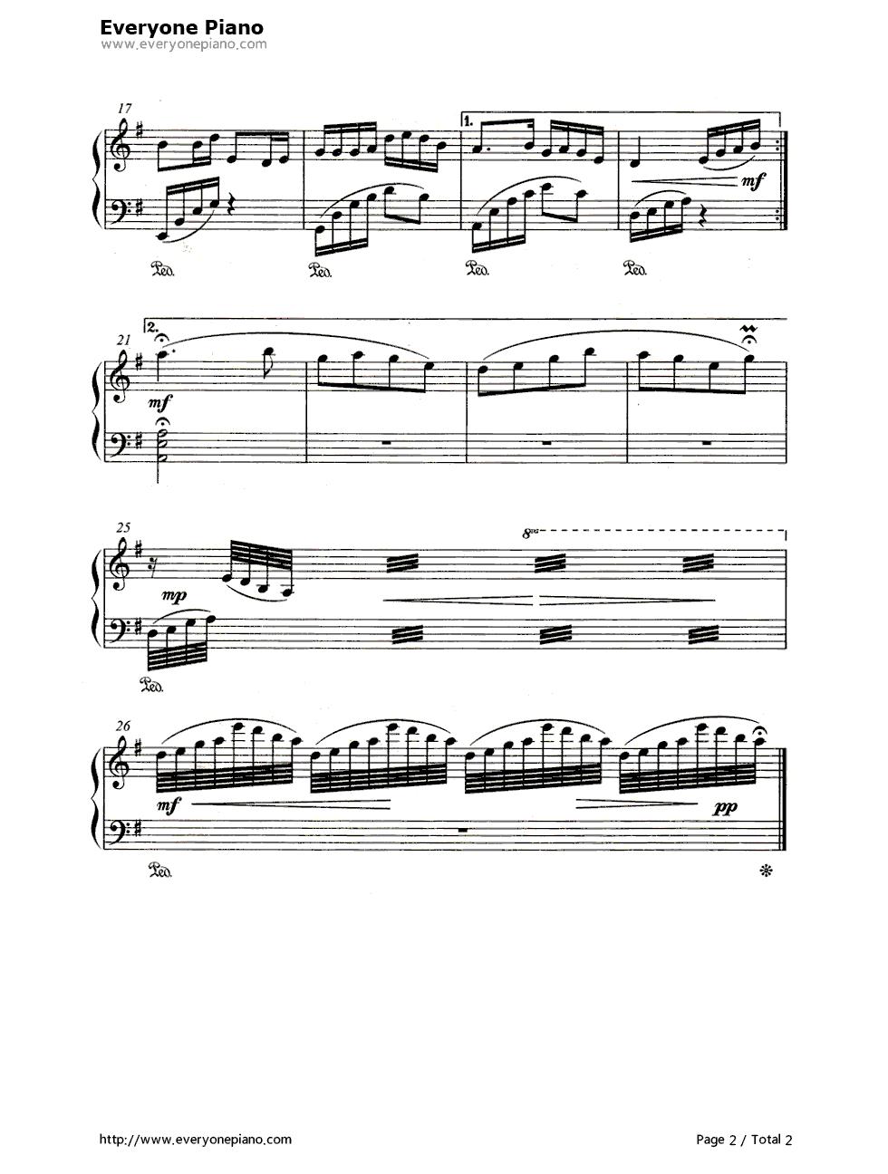 浏阳河简谱,五线谱对应版五线谱预览2
