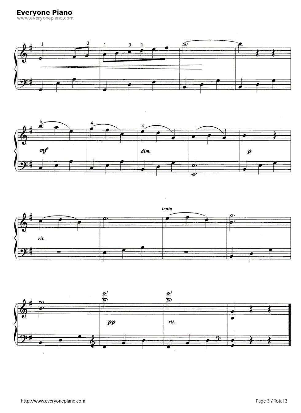 天鹅-动物狂欢节五线谱预览3-钢琴谱