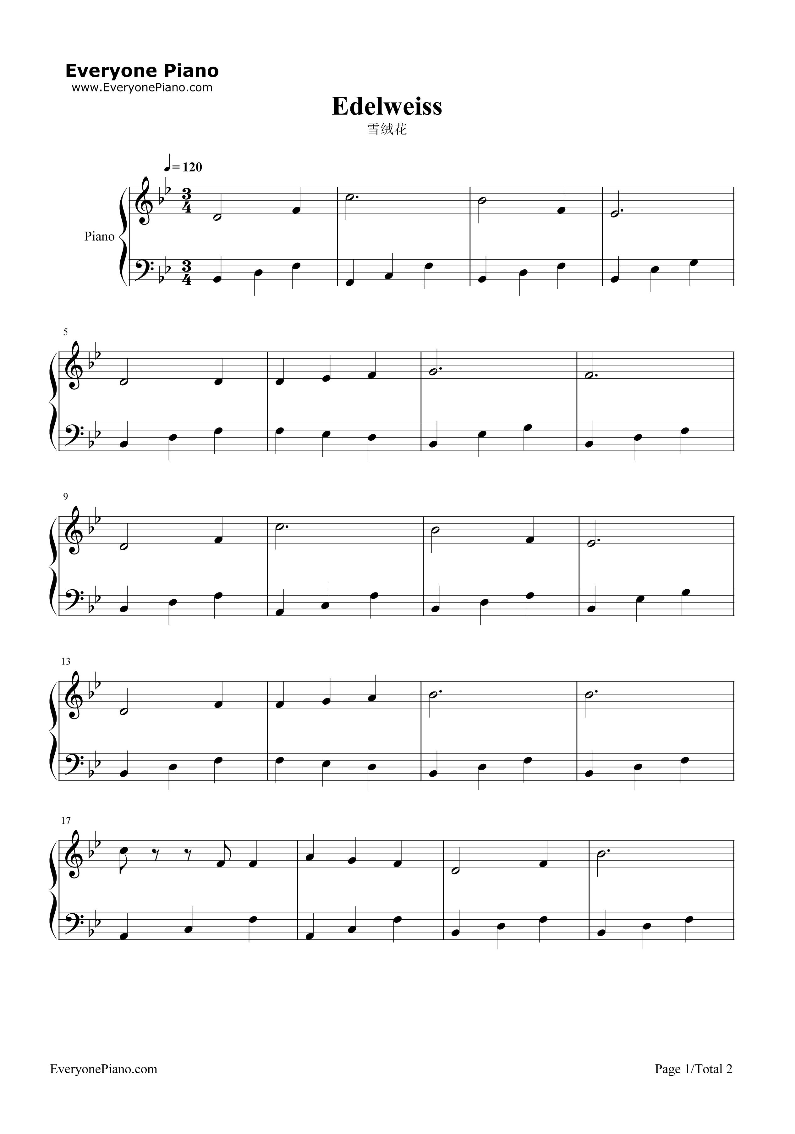 雪绒花(带歌词版)五线谱预览1