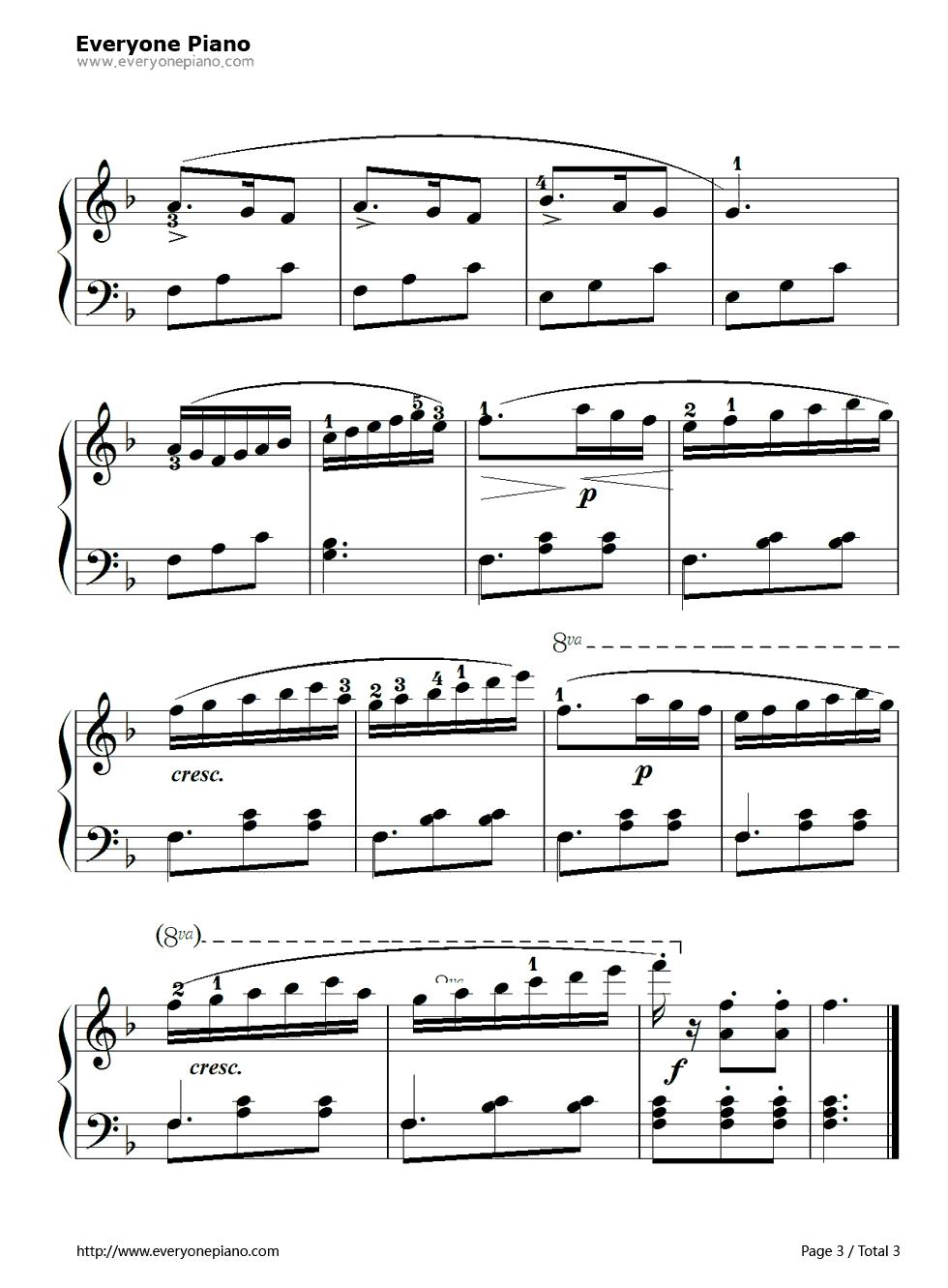 钢琴曲谱 练习曲 孩子们的拜厄104 孩子们的拜厄104五线谱预览3  }图片