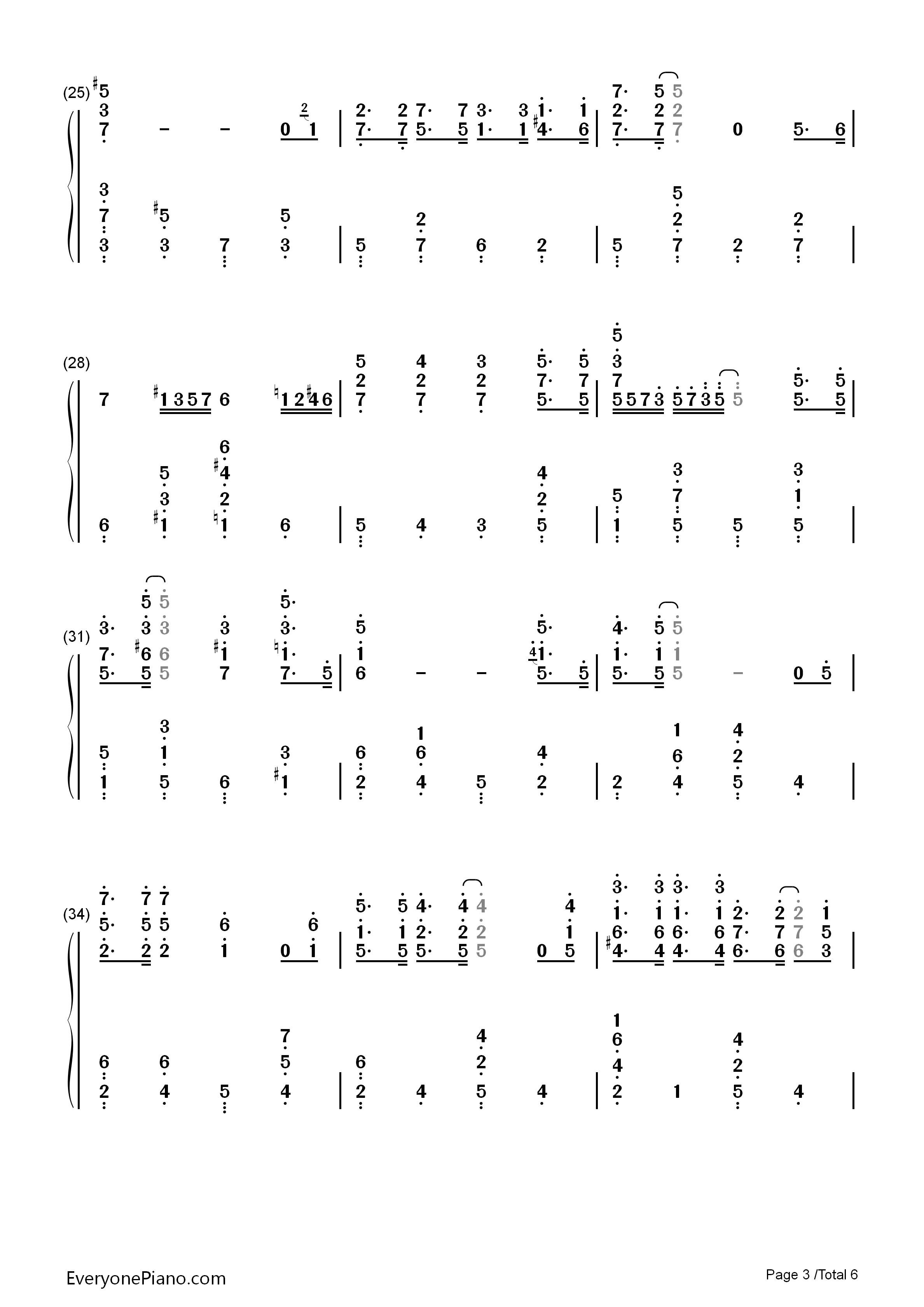 流行歌曲钢琴双手简谱