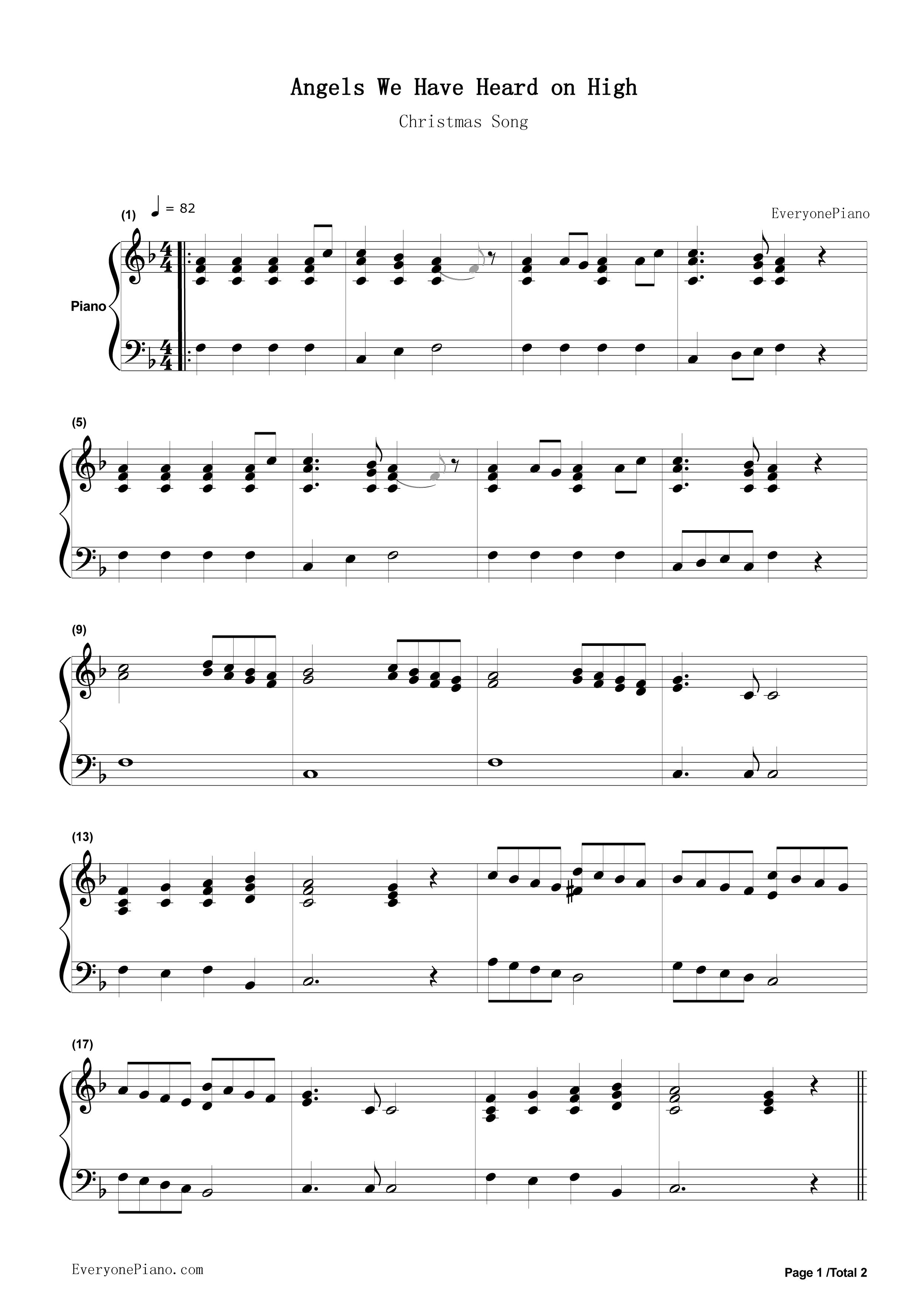 钢琴曲谱 流行 圣诞歌曲 - angels we have heard on high 圣诞歌曲