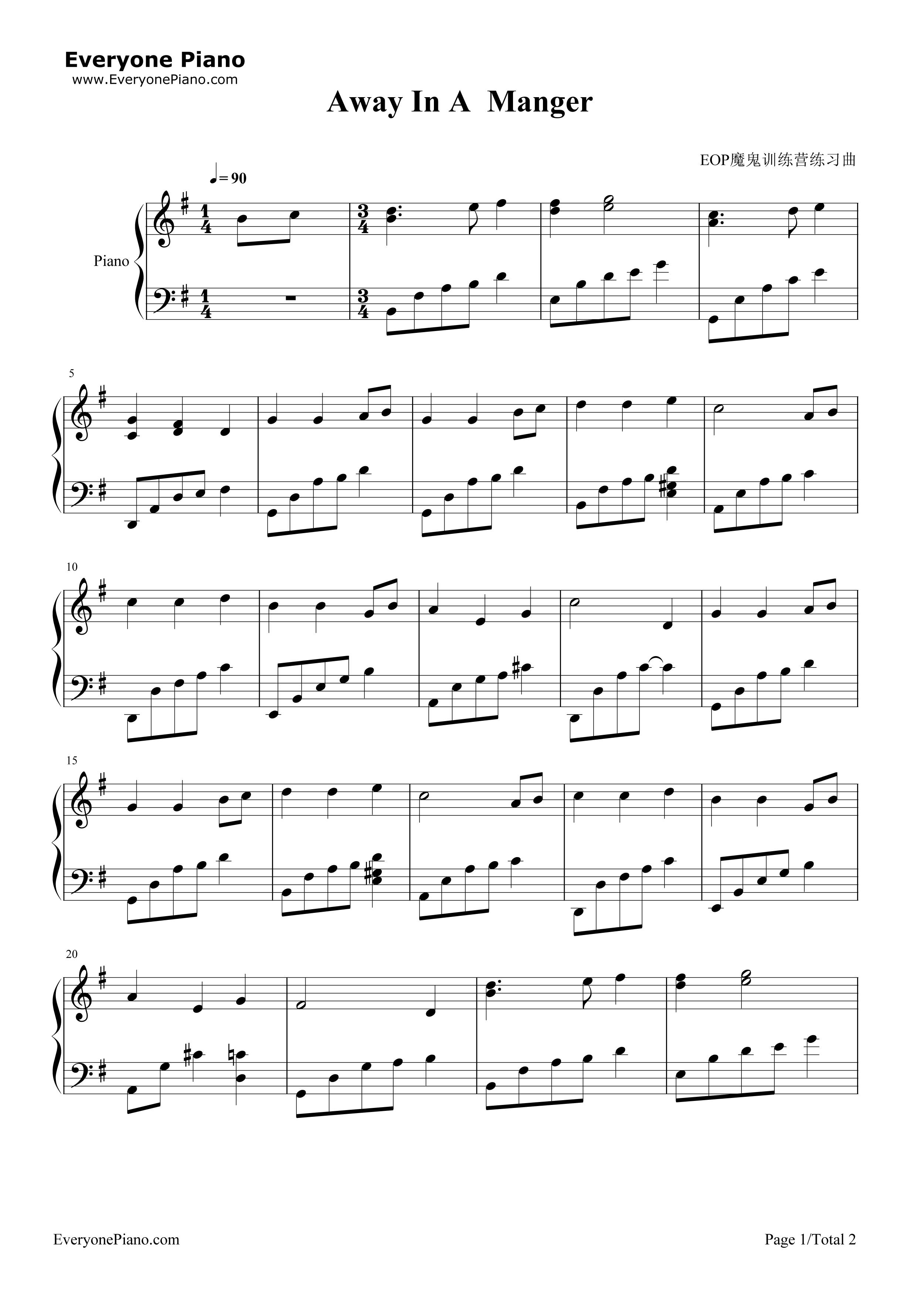歌曲五线谱预览1-钢琴谱(
