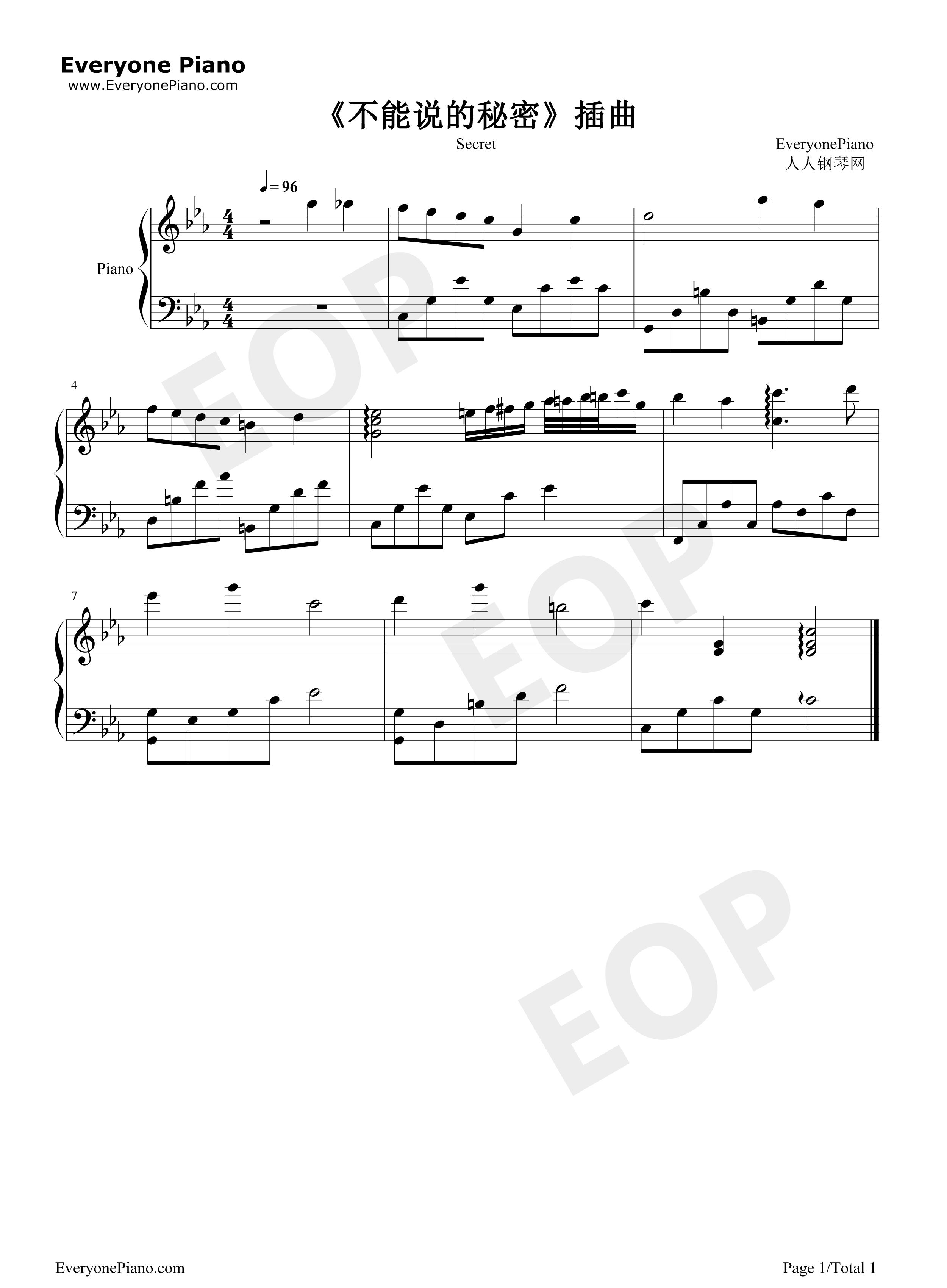 钢琴曲谱 流行 不能说的秘密插曲 不能说的秘密插曲五线谱预览1  }