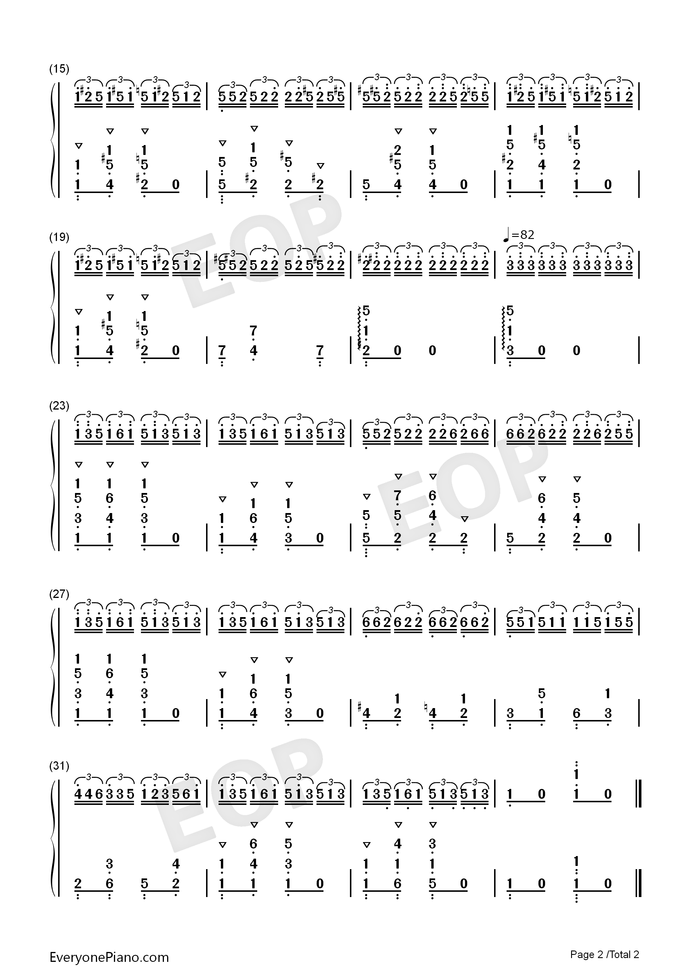 斗琴一-不能说的秘密双手简谱预览2-钢琴谱(五线谱,双手简谱)免费下载图片